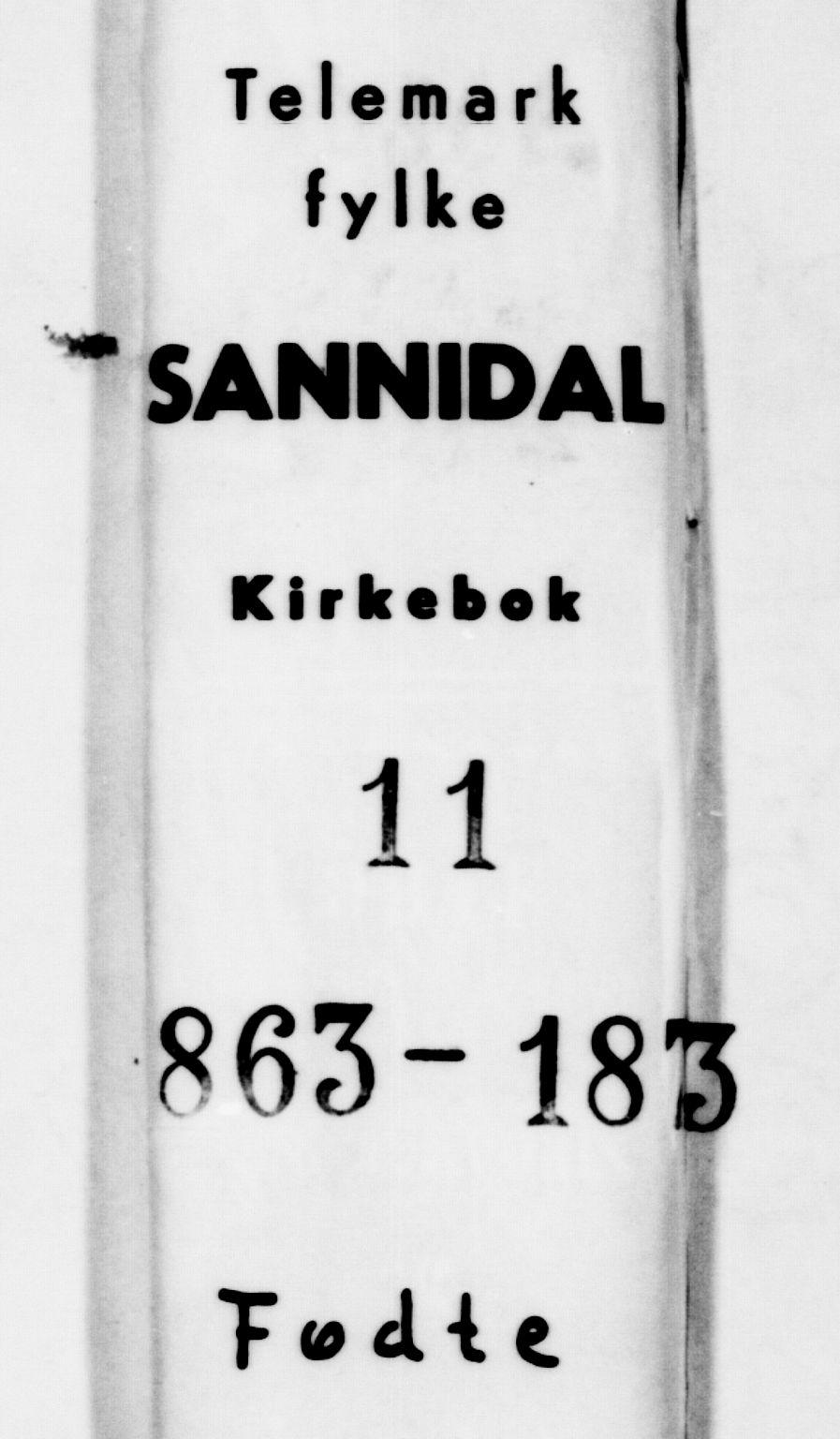 SAKO, Sannidal kirkebøker, F/Fa/L0011: Ministerialbok nr. 11, 1863-1873