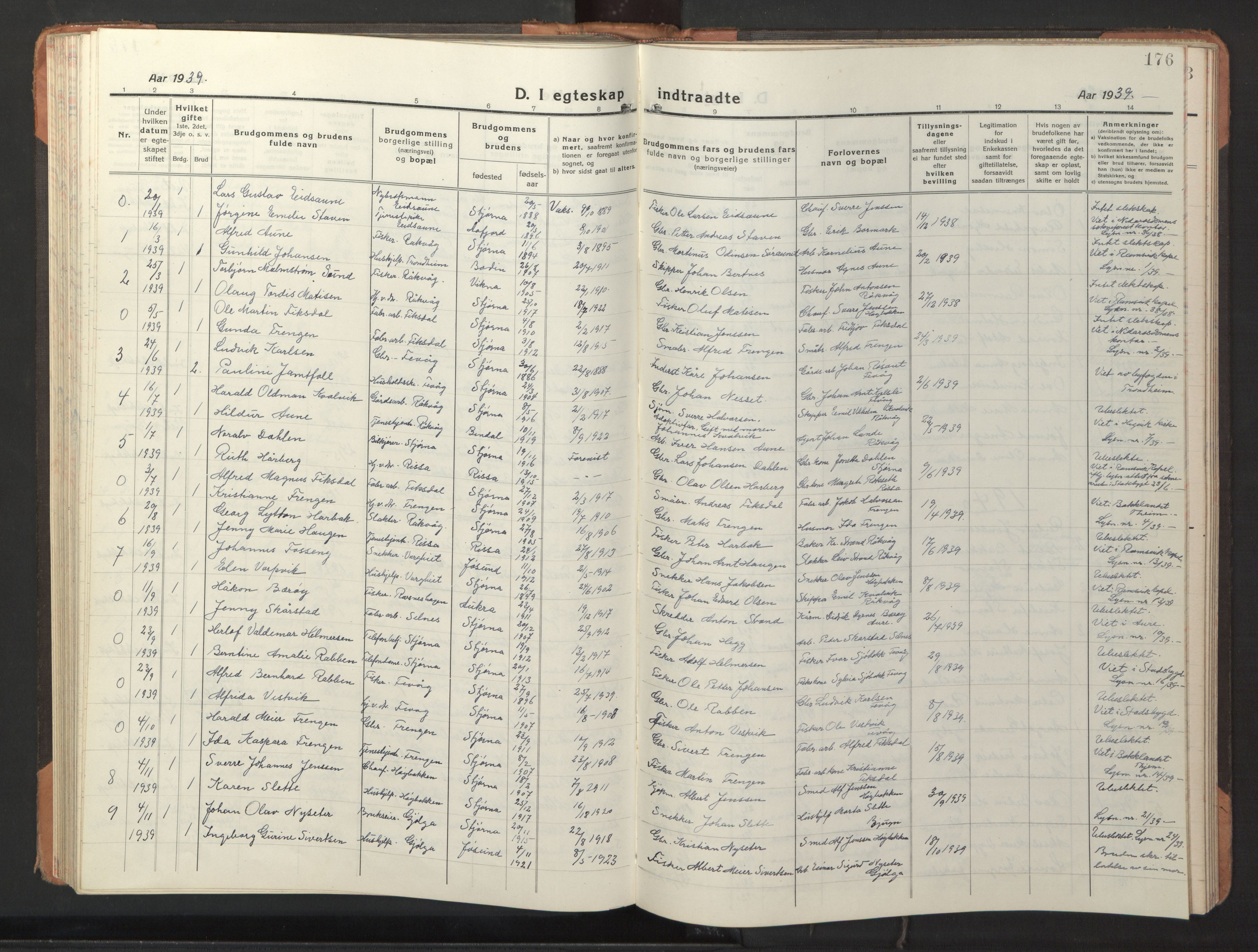 SAT, Ministerialprotokoller, klokkerbøker og fødselsregistre - Sør-Trøndelag, 653/L0658: Klokkerbok nr. 653C02, 1919-1947, s. 176