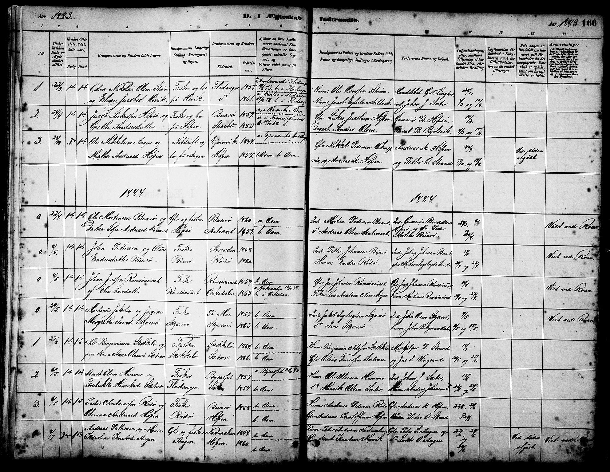 SAT, Ministerialprotokoller, klokkerbøker og fødselsregistre - Sør-Trøndelag, 658/L0726: Klokkerbok nr. 658C02, 1883-1908, s. 166