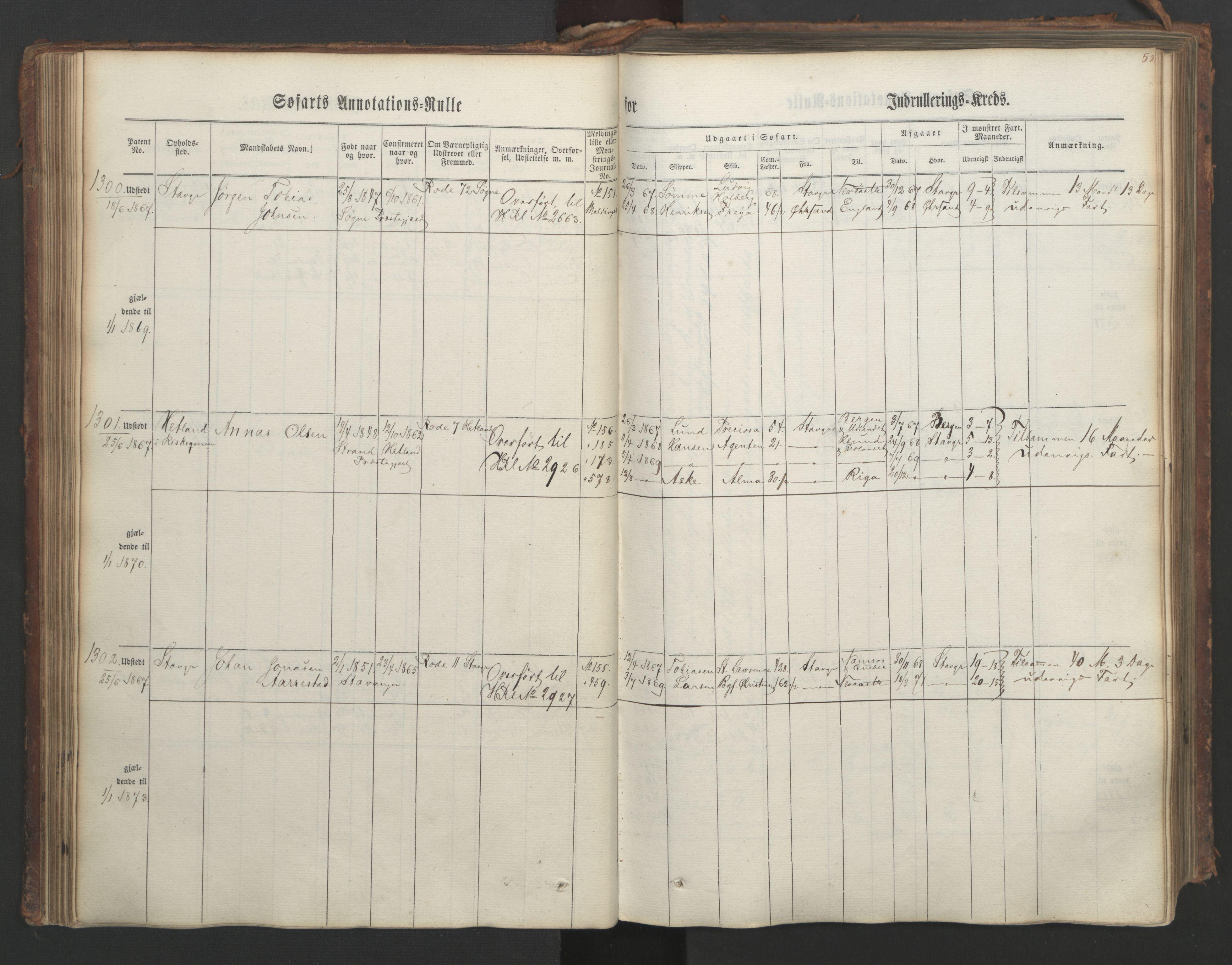 SAST, Stavanger sjømannskontor, F/Ff/L0003: Annotasjonsrulle, patentnr. 1144-1761, 1866, s. 64
