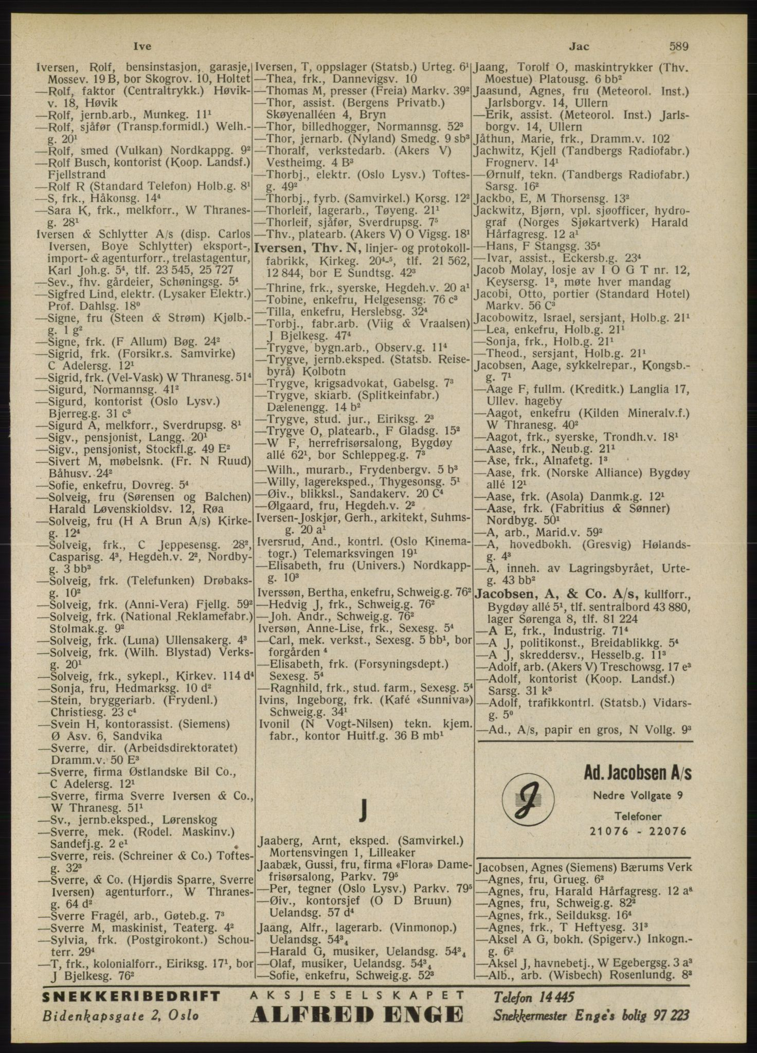 RA, Oslo adressebok (publikasjon)*, 1946, s. 589