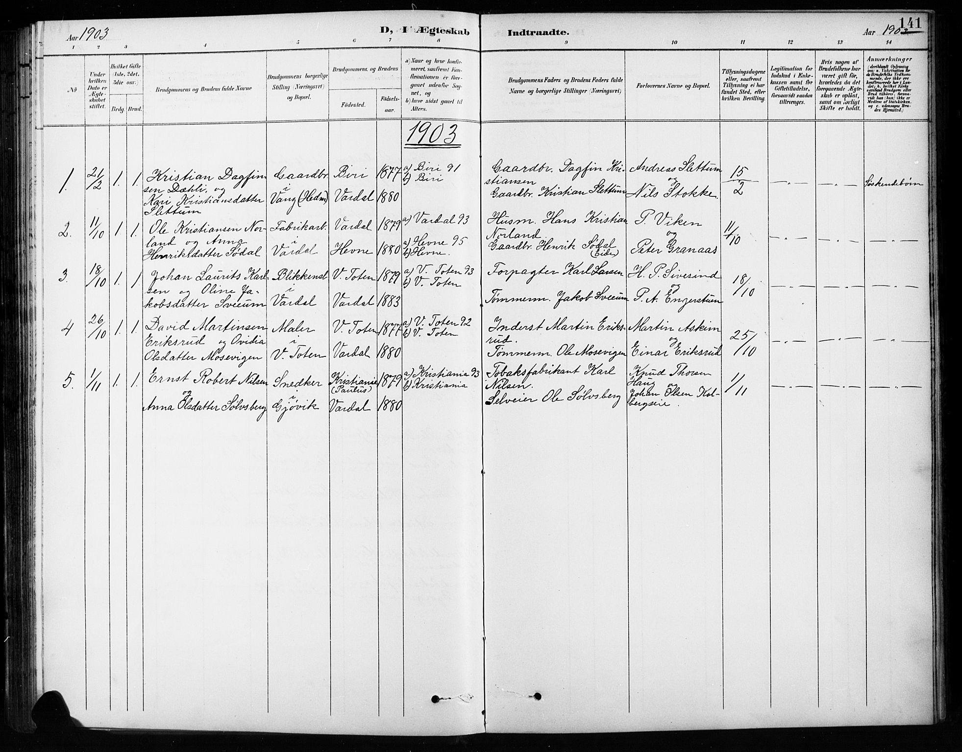 SAH, Vardal prestekontor, H/Ha/Hab/L0010: Klokkerbok nr. 10, 1895-1903, s. 141
