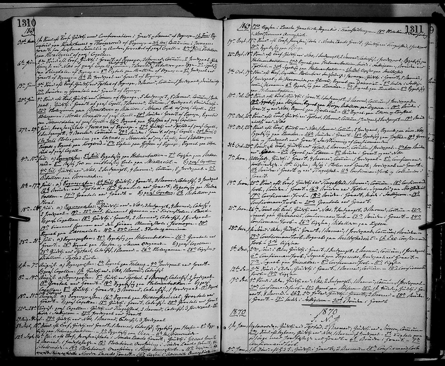 SAH, Gran prestekontor, Ministerialbok nr. 12, 1856-1874, s. 1310-1311