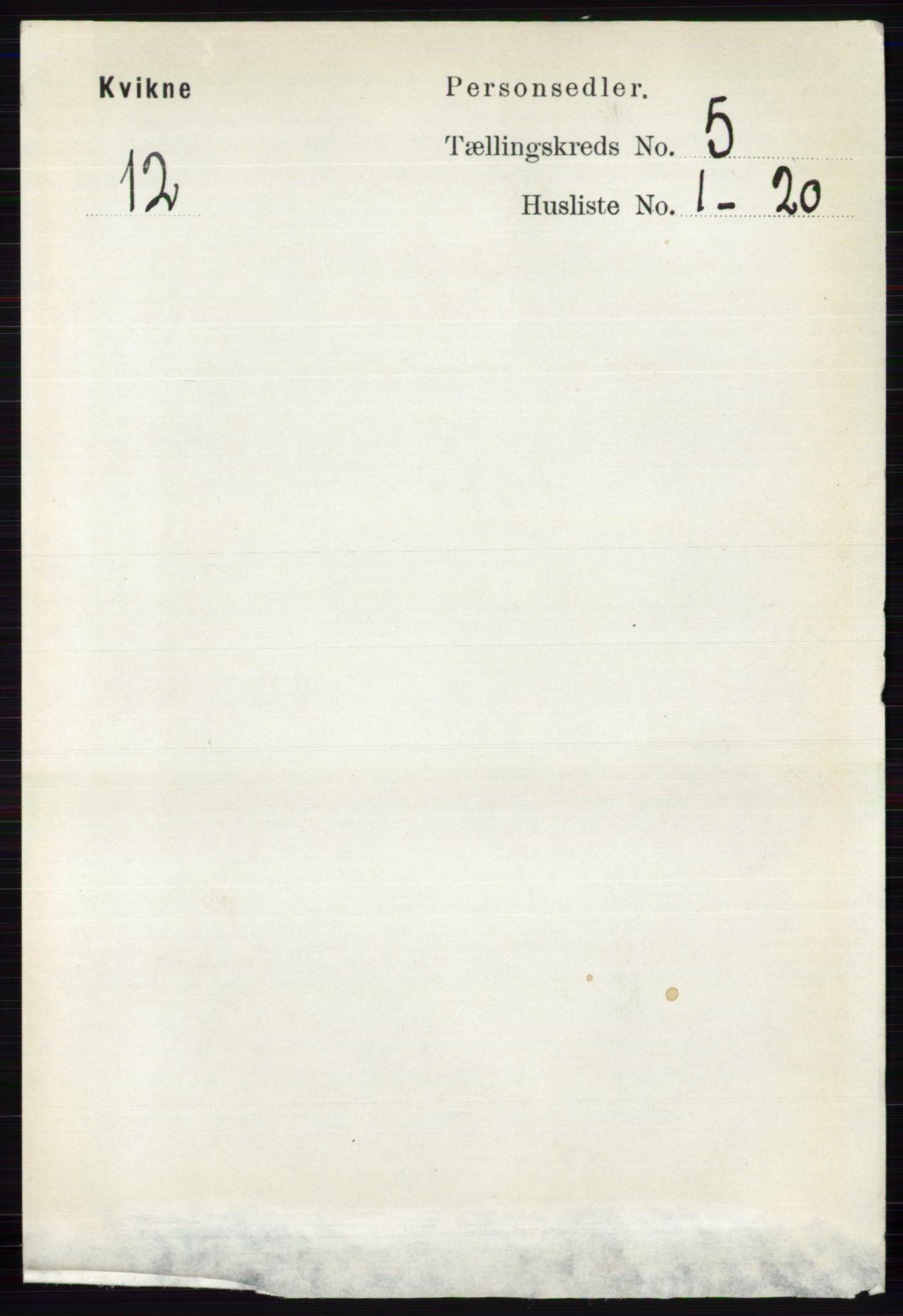 RA, Folketelling 1891 for 0440 Kvikne herred, 1891, s. 1338