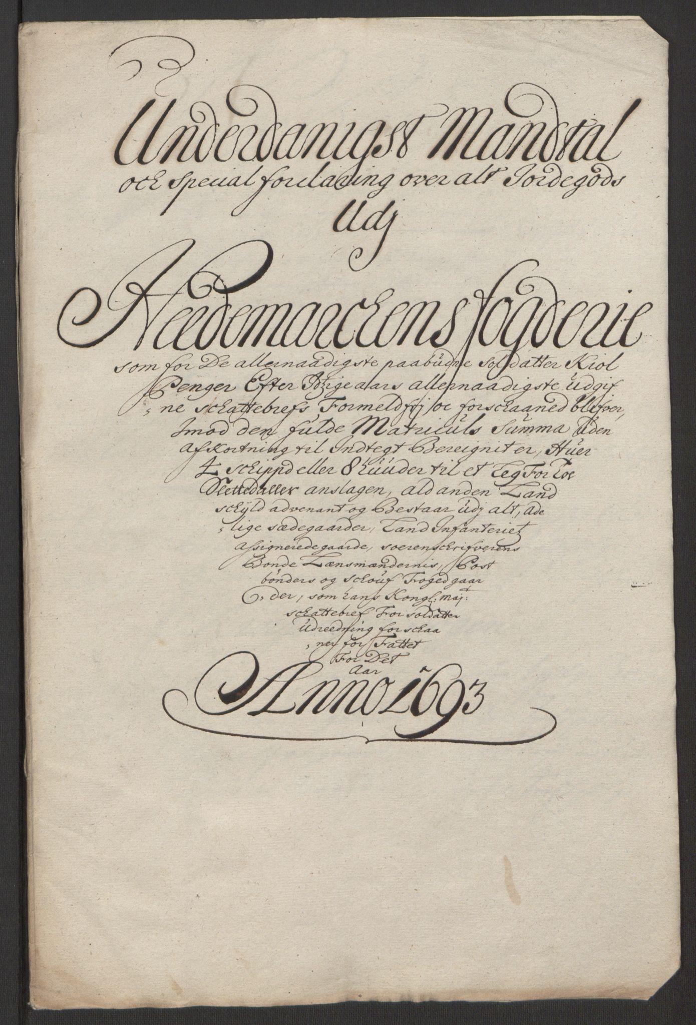 RA, Rentekammeret inntil 1814, Reviderte regnskaper, Fogderegnskap, R16/L1034: Fogderegnskap Hedmark, 1693, s. 213
