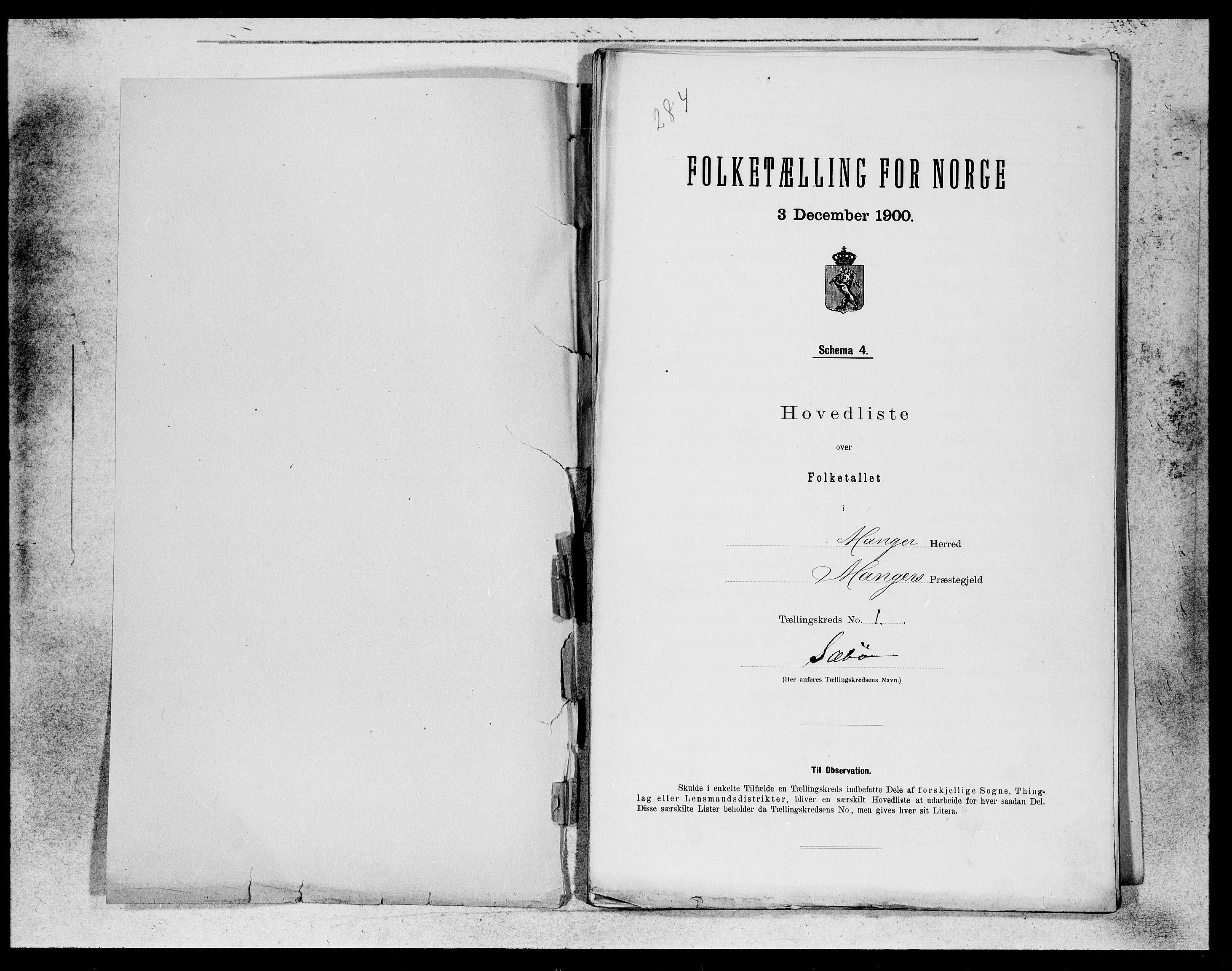 SAB, Folketelling 1900 for 1261 Manger herred, 1900, s. 1