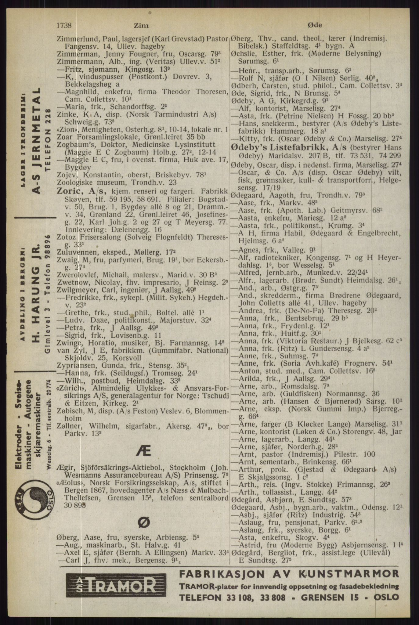 RA, Oslo adressebok (publikasjon)*, 1944, s. 1738