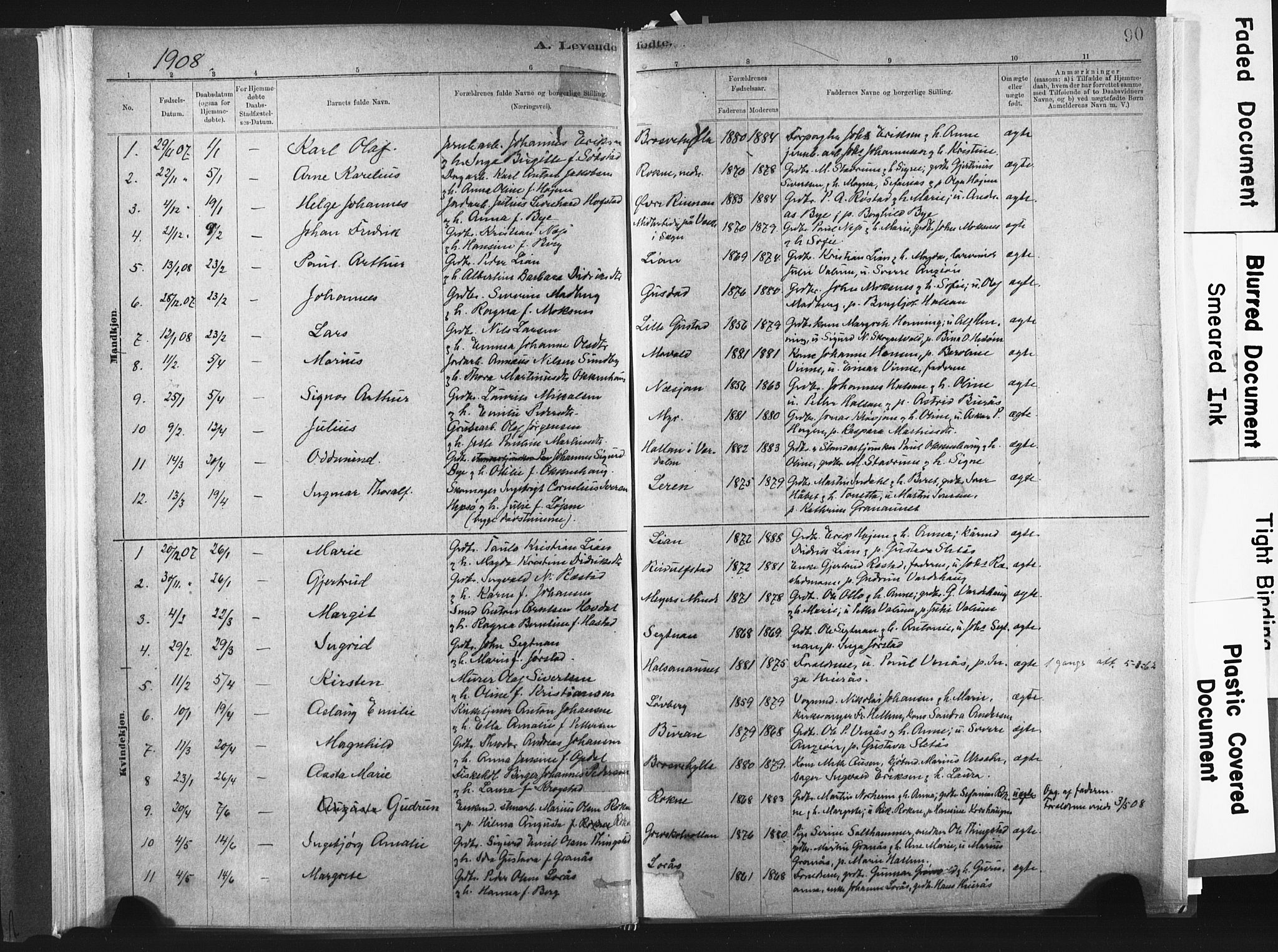 SAT, Ministerialprotokoller, klokkerbøker og fødselsregistre - Nord-Trøndelag, 721/L0207: Ministerialbok nr. 721A02, 1880-1911, s. 90