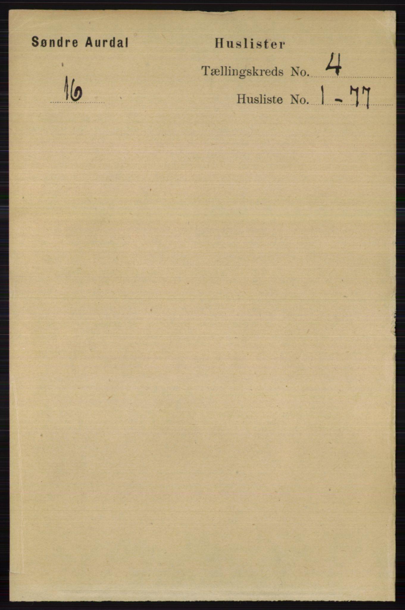 RA, Folketelling 1891 for 0540 Sør-Aurdal herred, 1891, s. 2319