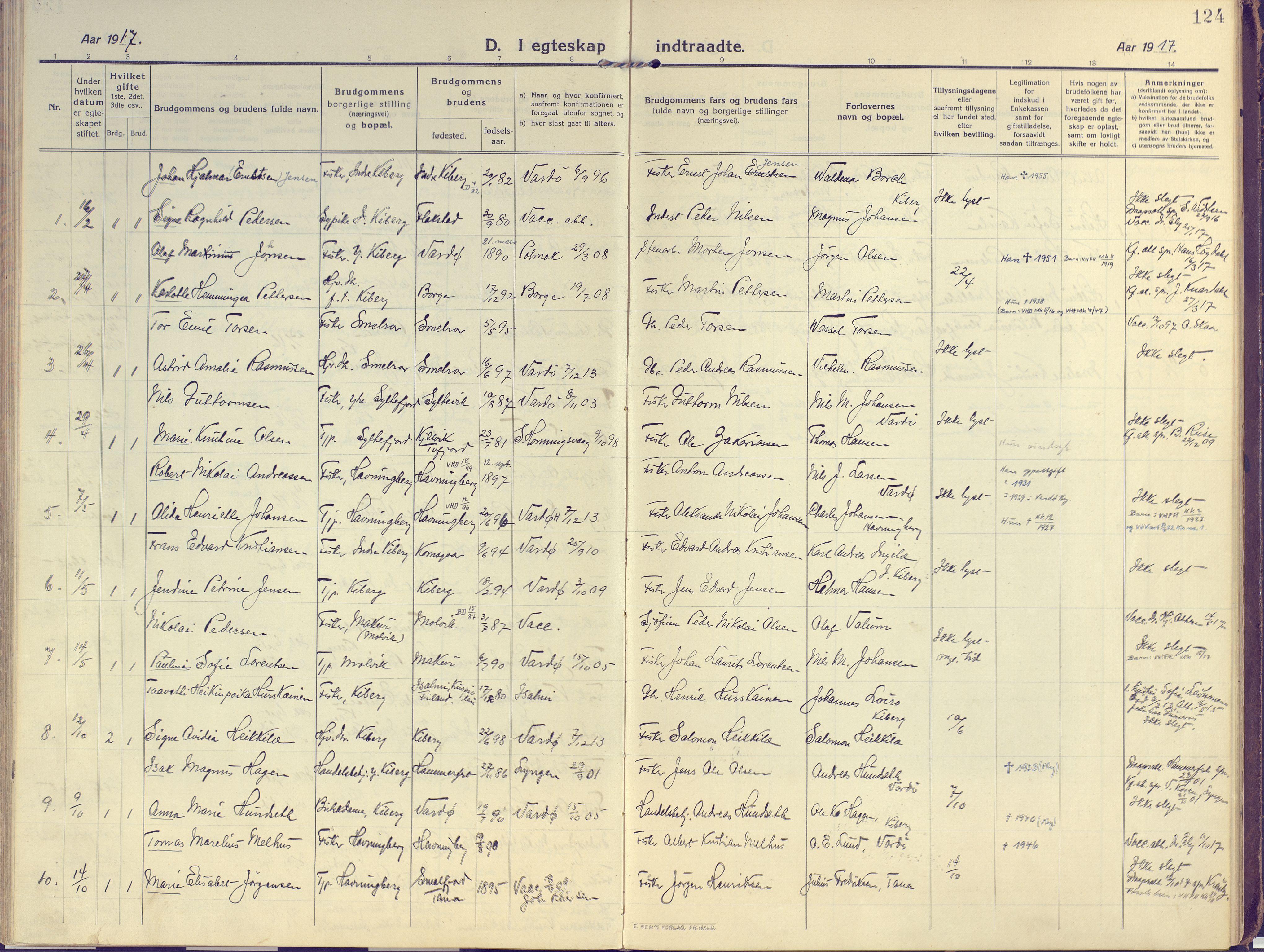 SATØ, Vardø sokneprestkontor, H/Ha/L0013kirke: Ministerialbok nr. 13, 1912-1928, s. 124