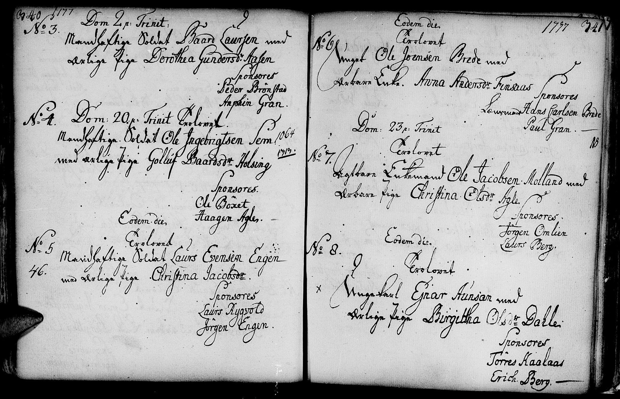 SAT, Ministerialprotokoller, klokkerbøker og fødselsregistre - Nord-Trøndelag, 749/L0467: Ministerialbok nr. 749A01, 1733-1787, s. 340-341