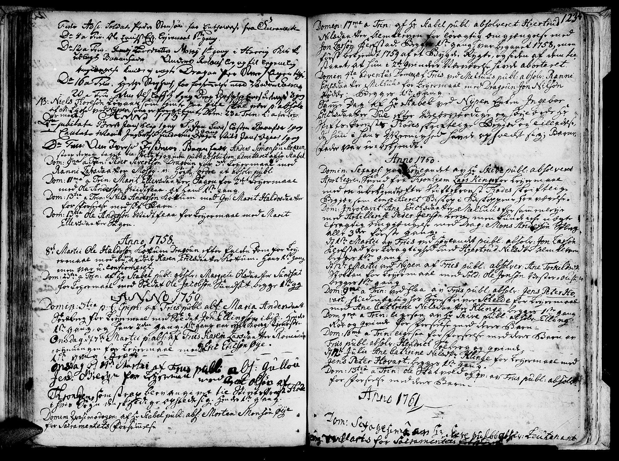 SAT, Ministerialprotokoller, klokkerbøker og fødselsregistre - Sør-Trøndelag, 691/L1057: Ministerialbok nr. 691A01 /1, 1740-1767, s. 123