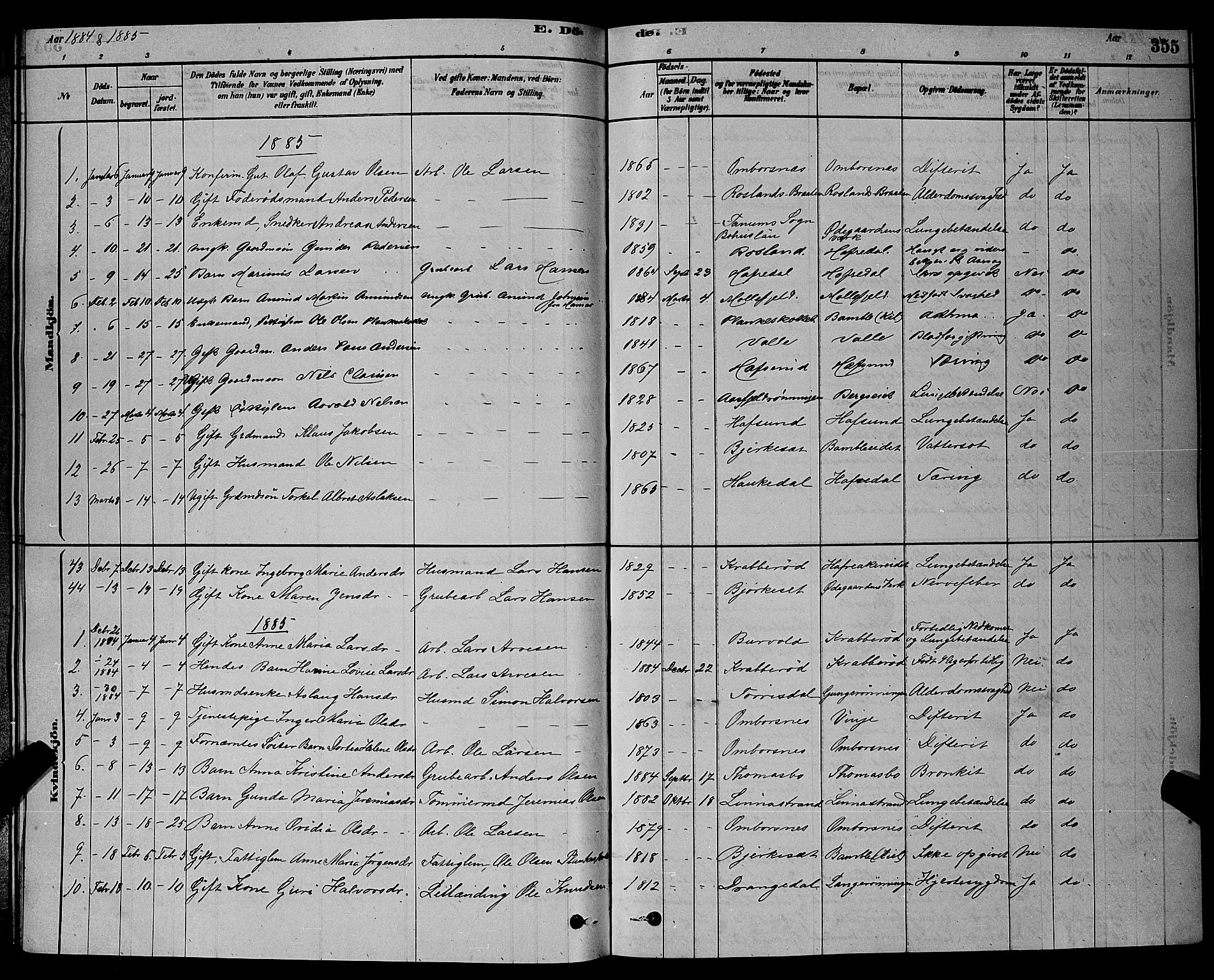 SAKO, Bamble kirkebøker, G/Ga/L0008: Klokkerbok nr. I 8, 1878-1888, s. 355