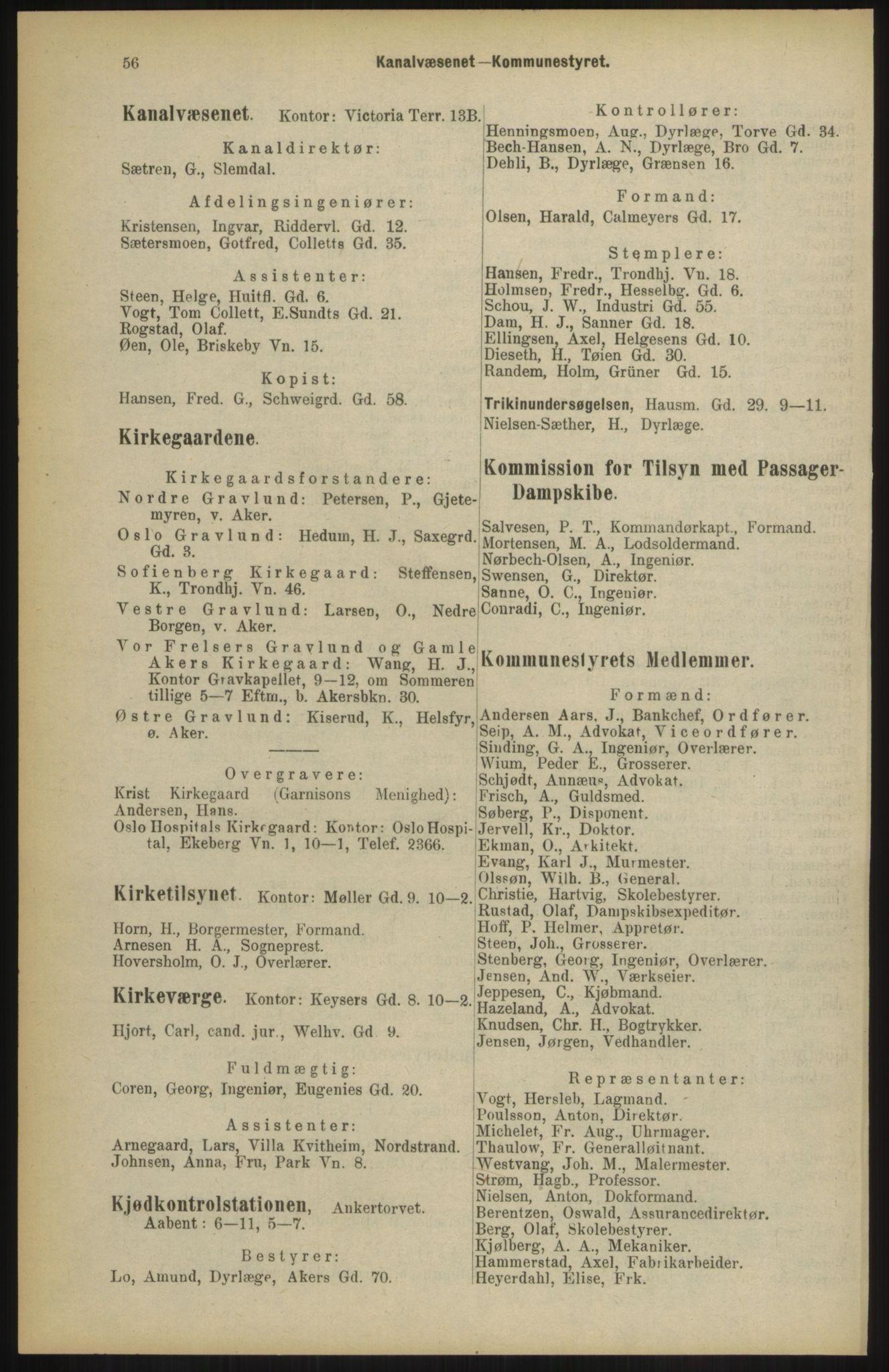 RA, Kristiania adressebok (publikasjon)*, 1904, s. 56