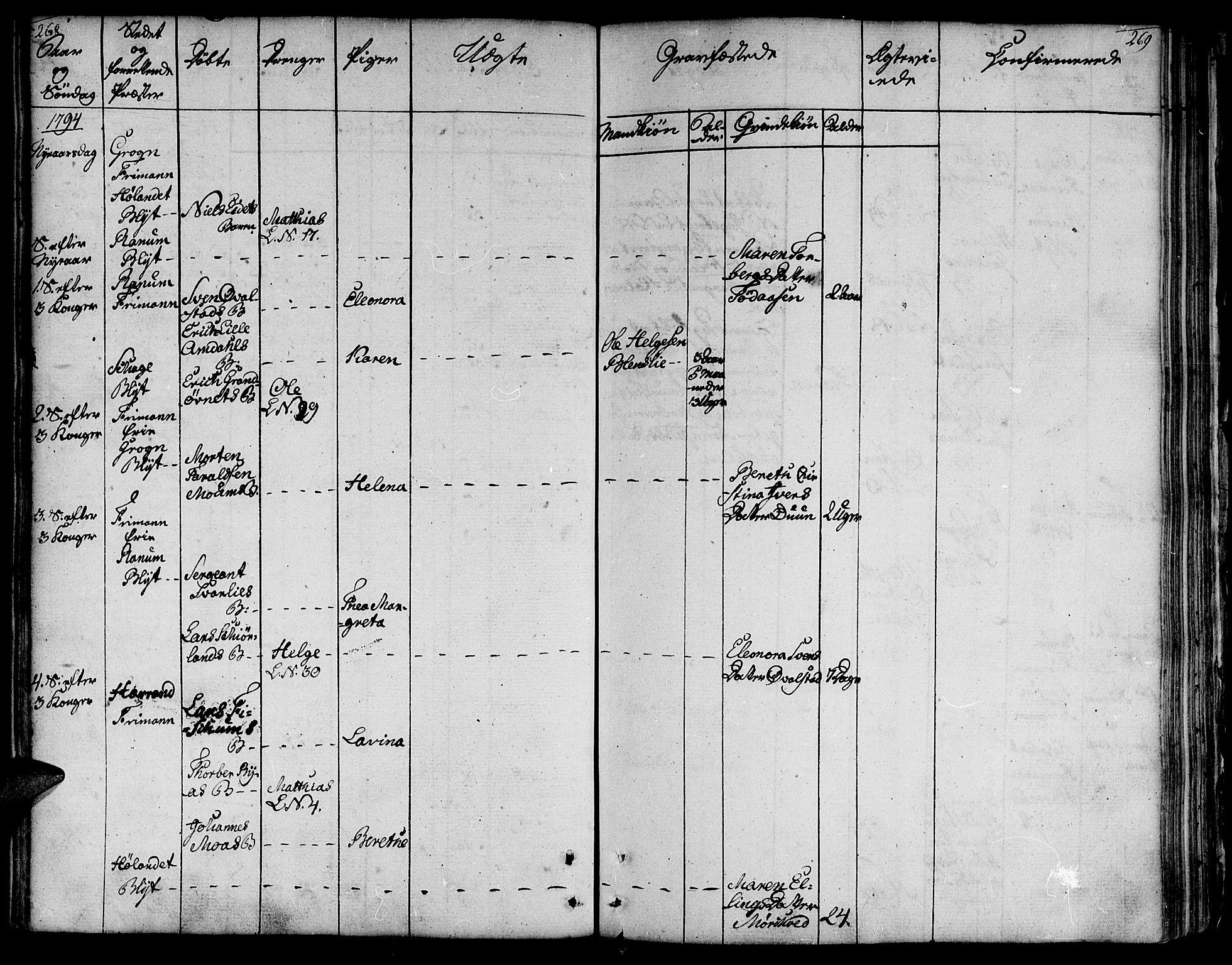 SAT, Ministerialprotokoller, klokkerbøker og fødselsregistre - Nord-Trøndelag, 764/L0544: Ministerialbok nr. 764A04, 1780-1798, s. 268-269