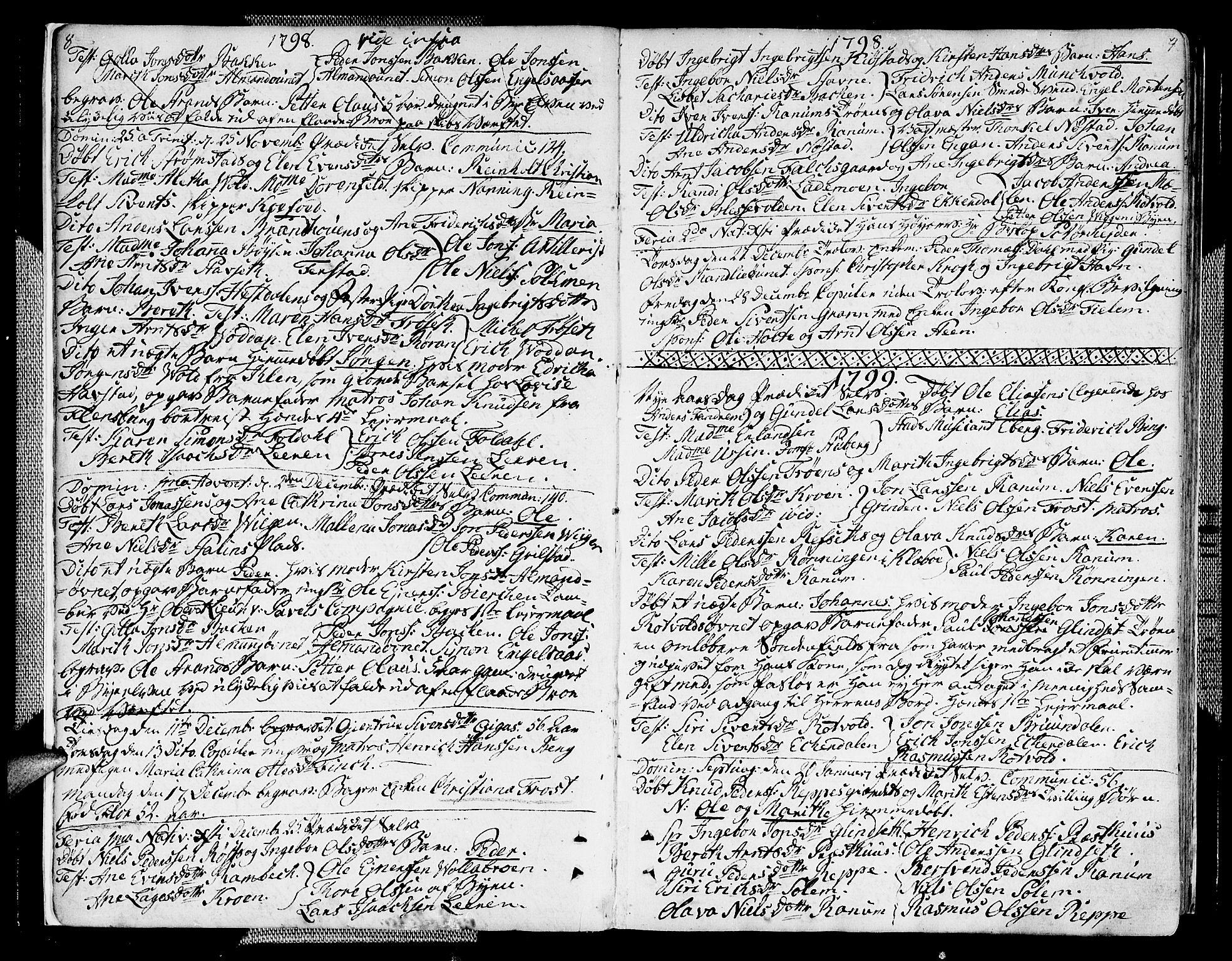 SAT, Ministerialprotokoller, klokkerbøker og fødselsregistre - Sør-Trøndelag, 604/L0181: Ministerialbok nr. 604A02, 1798-1817, s. 8-9