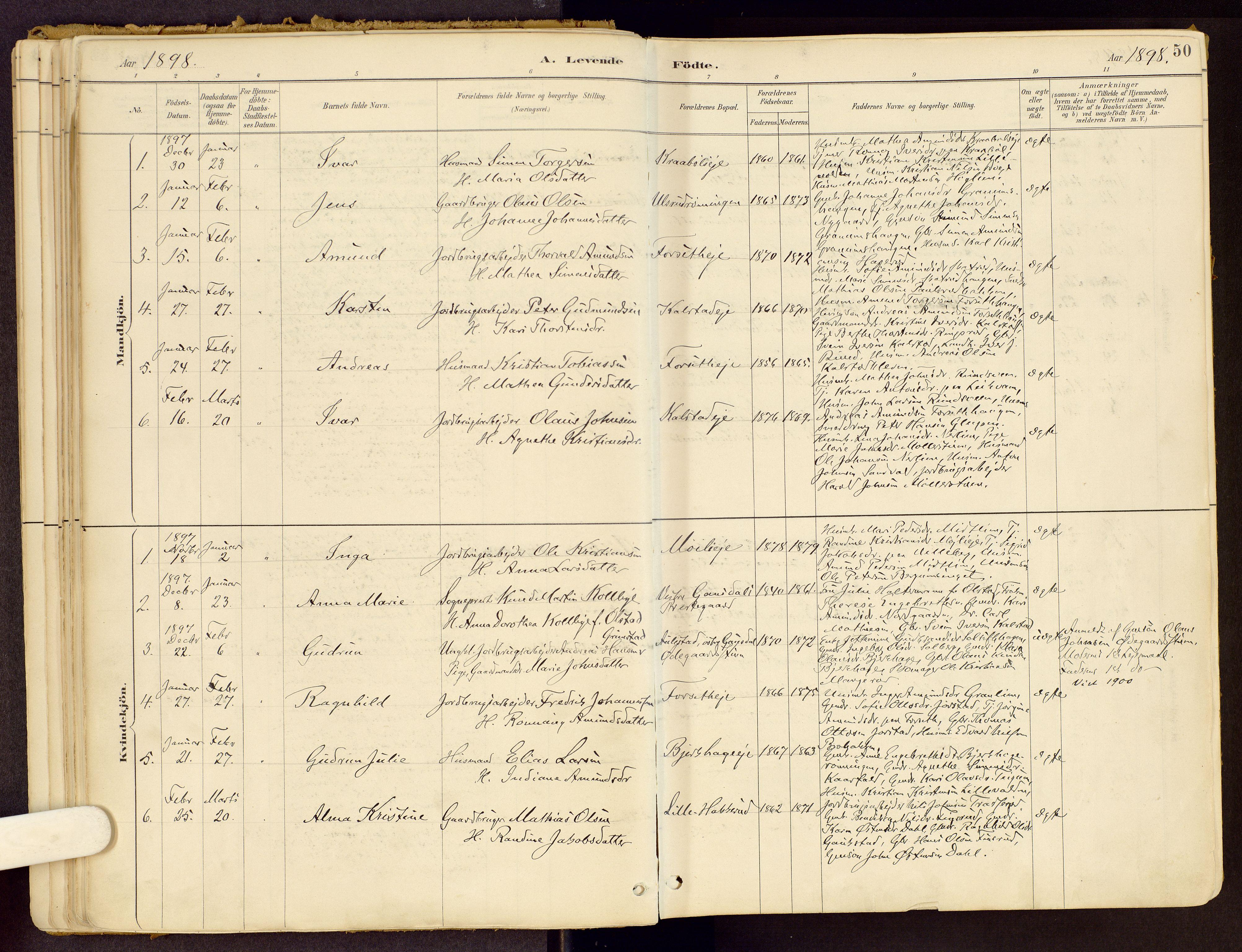 SAH, Vestre Gausdal prestekontor, Ministerialbok nr. 1, 1887-1914, s. 50