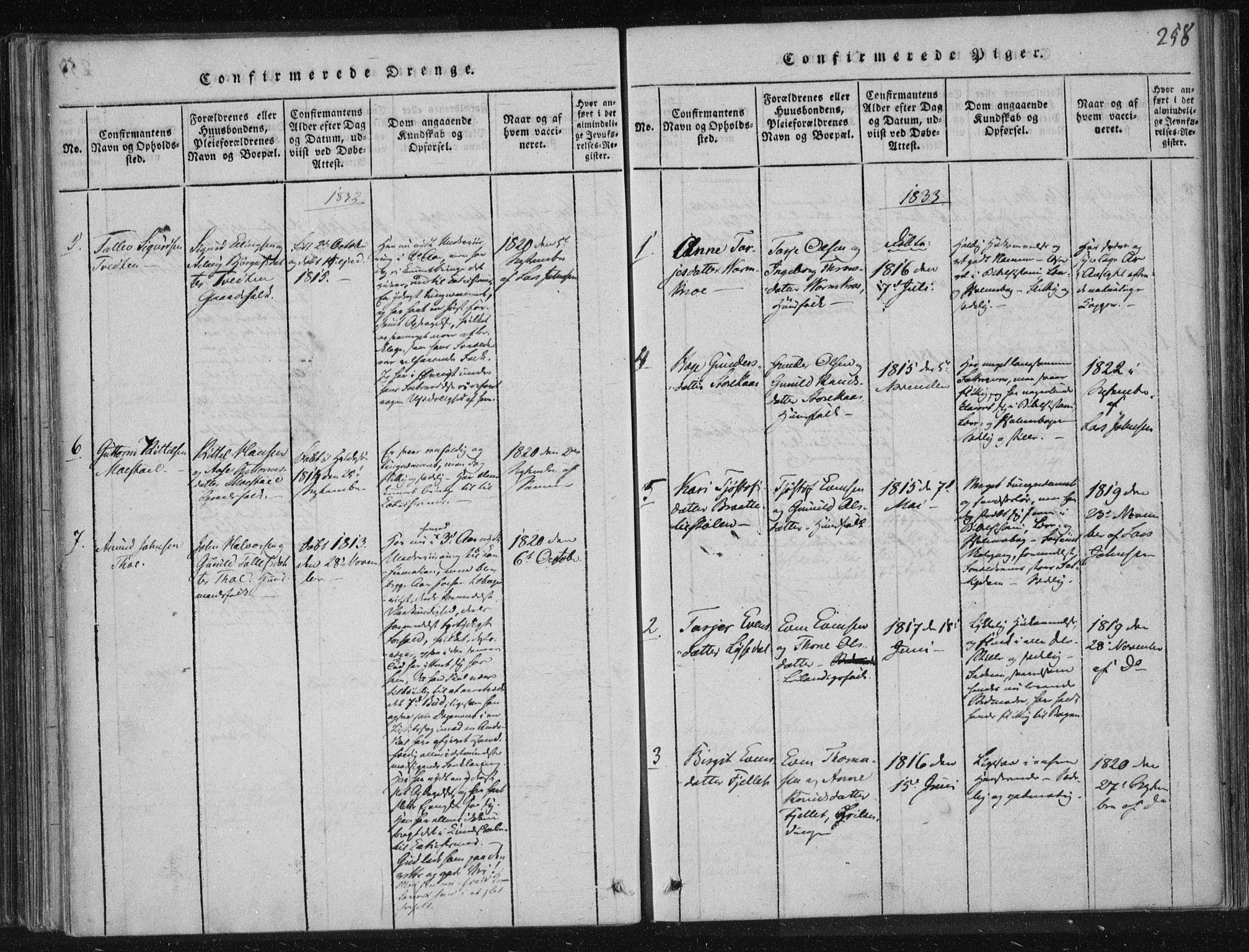 SAKO, Lårdal kirkebøker, F/Fc/L0001: Ministerialbok nr. III 1, 1815-1860, s. 258