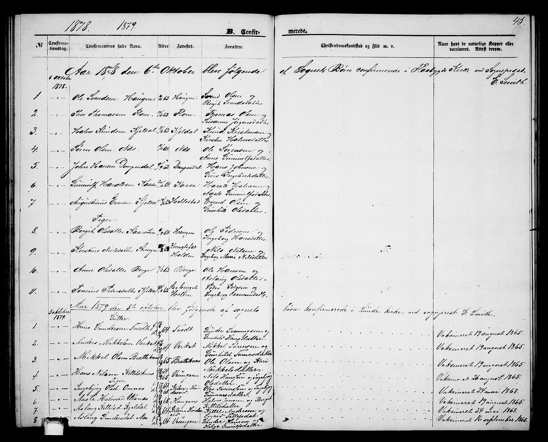 SAKO, Lunde kirkebøker, G/Gb/L0001: Klokkerbok nr. II 1, 1866-1887, s. 45