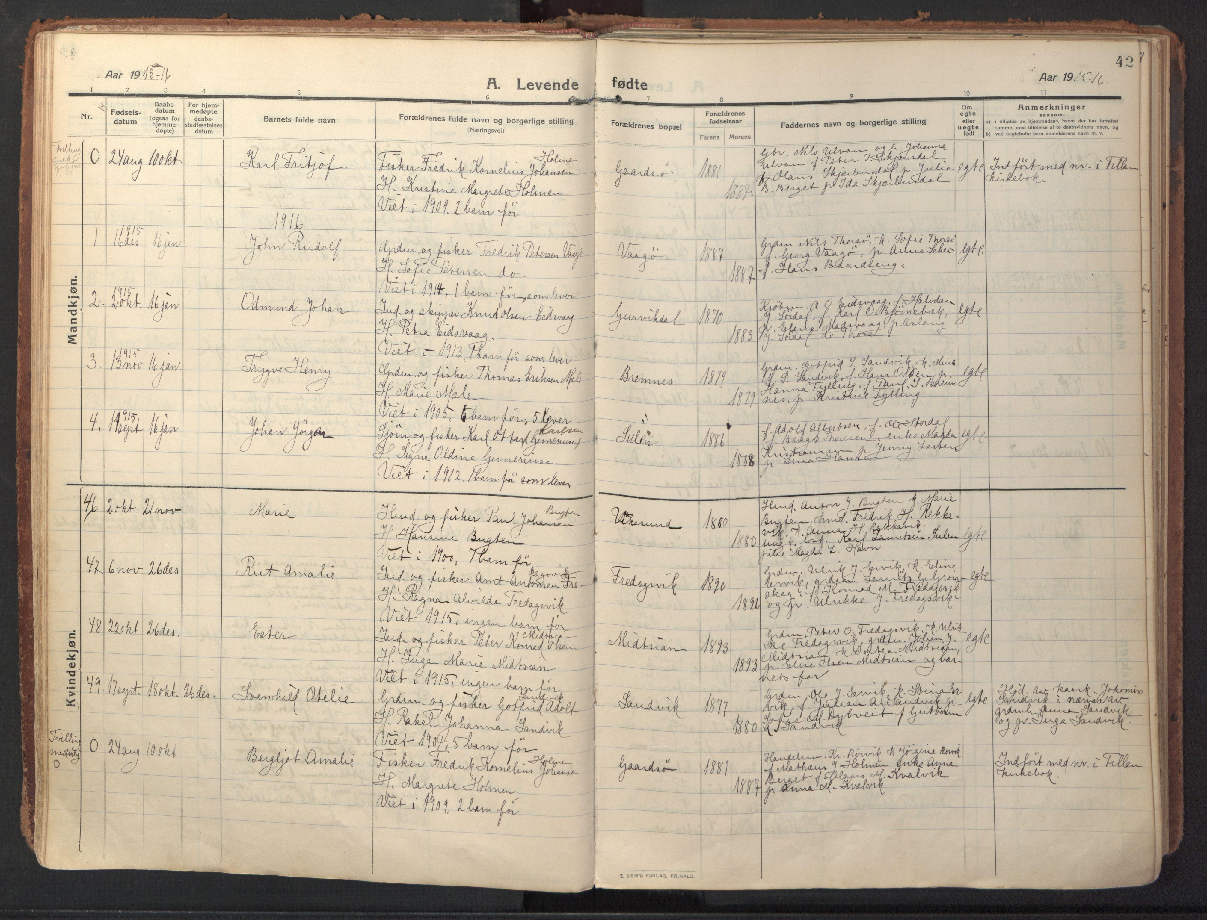 SAT, Ministerialprotokoller, klokkerbøker og fødselsregistre - Sør-Trøndelag, 640/L0581: Ministerialbok nr. 640A06, 1910-1924, s. 42