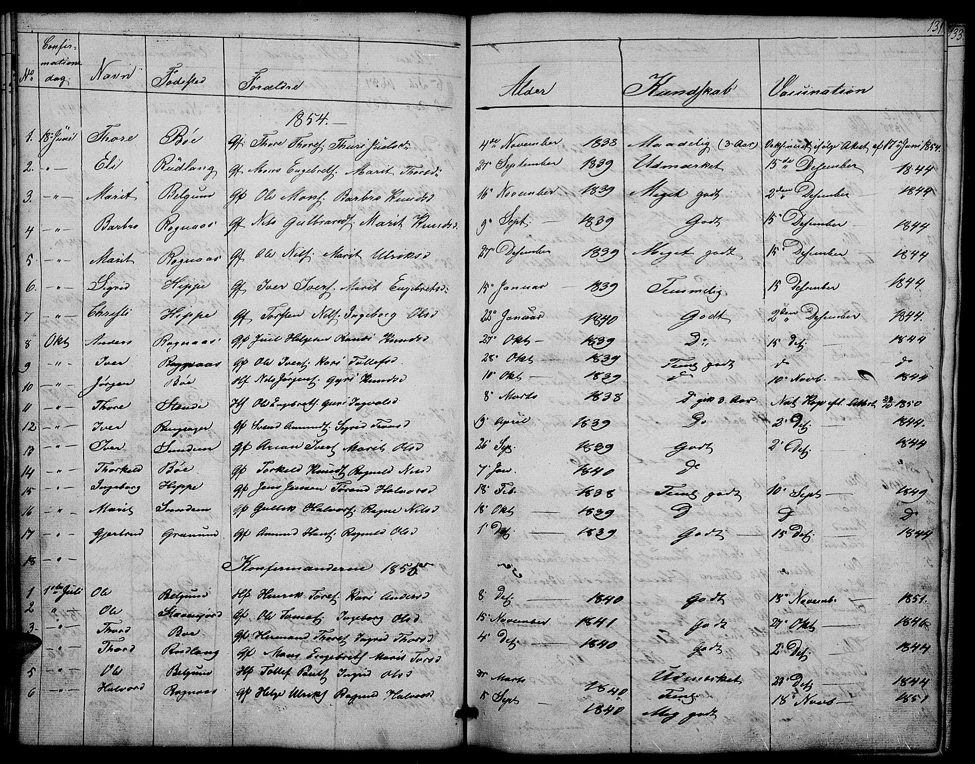 SAH, Nord-Aurdal prestekontor, Klokkerbok nr. 4, 1842-1882, s. 131