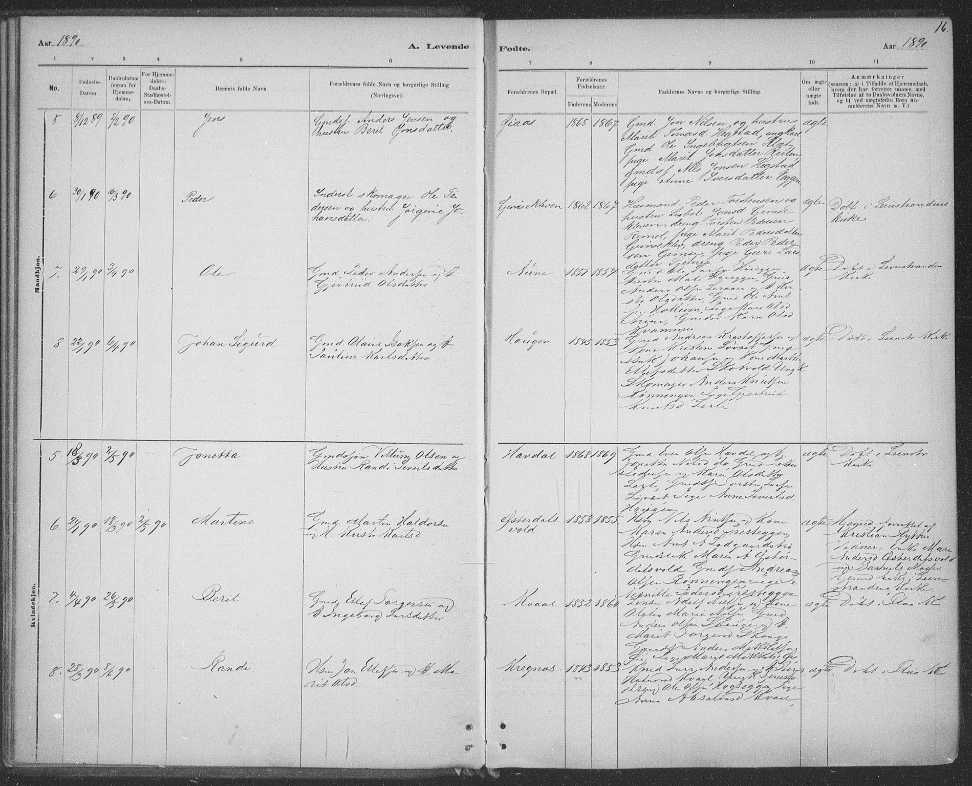 SAT, Ministerialprotokoller, klokkerbøker og fødselsregistre - Sør-Trøndelag, 691/L1085: Ministerialbok nr. 691A17, 1887-1908, s. 16