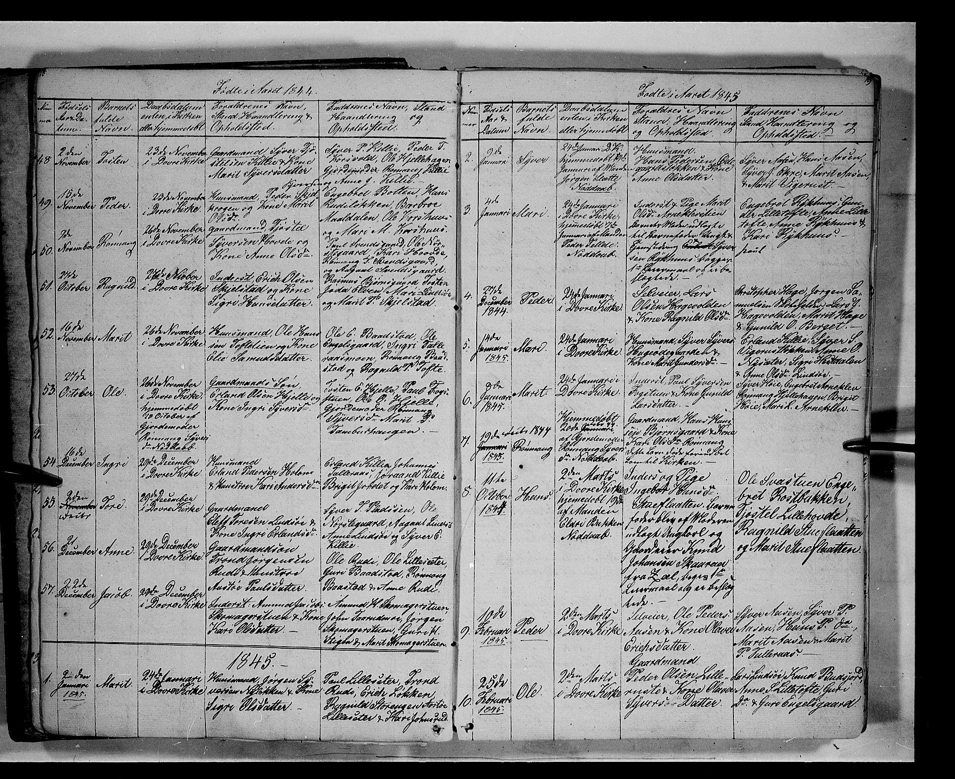 SAH, Lesja prestekontor, Klokkerbok nr. 3, 1842-1862, s. 18-19