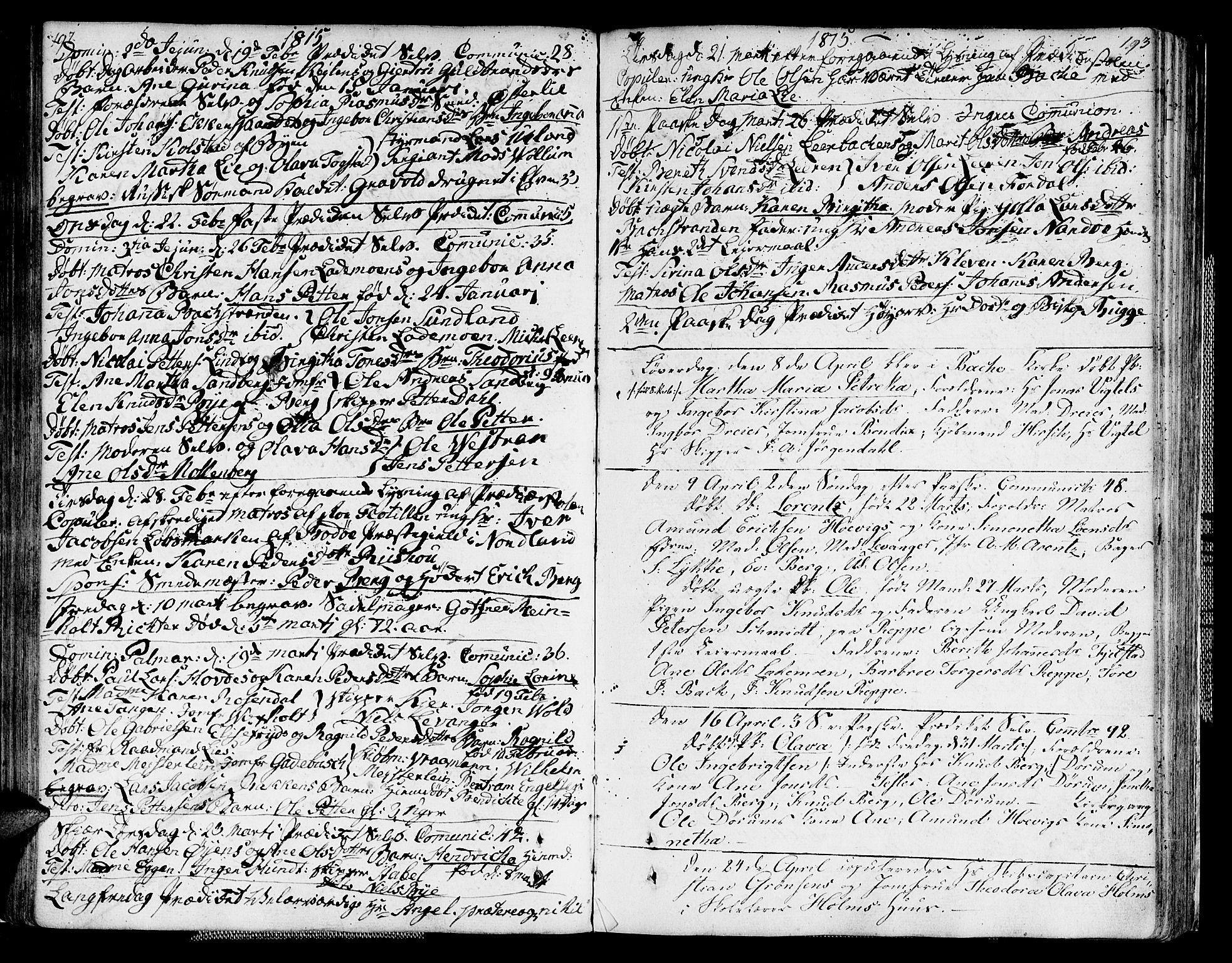SAT, Ministerialprotokoller, klokkerbøker og fødselsregistre - Sør-Trøndelag, 604/L0181: Ministerialbok nr. 604A02, 1798-1817, s. 192-193
