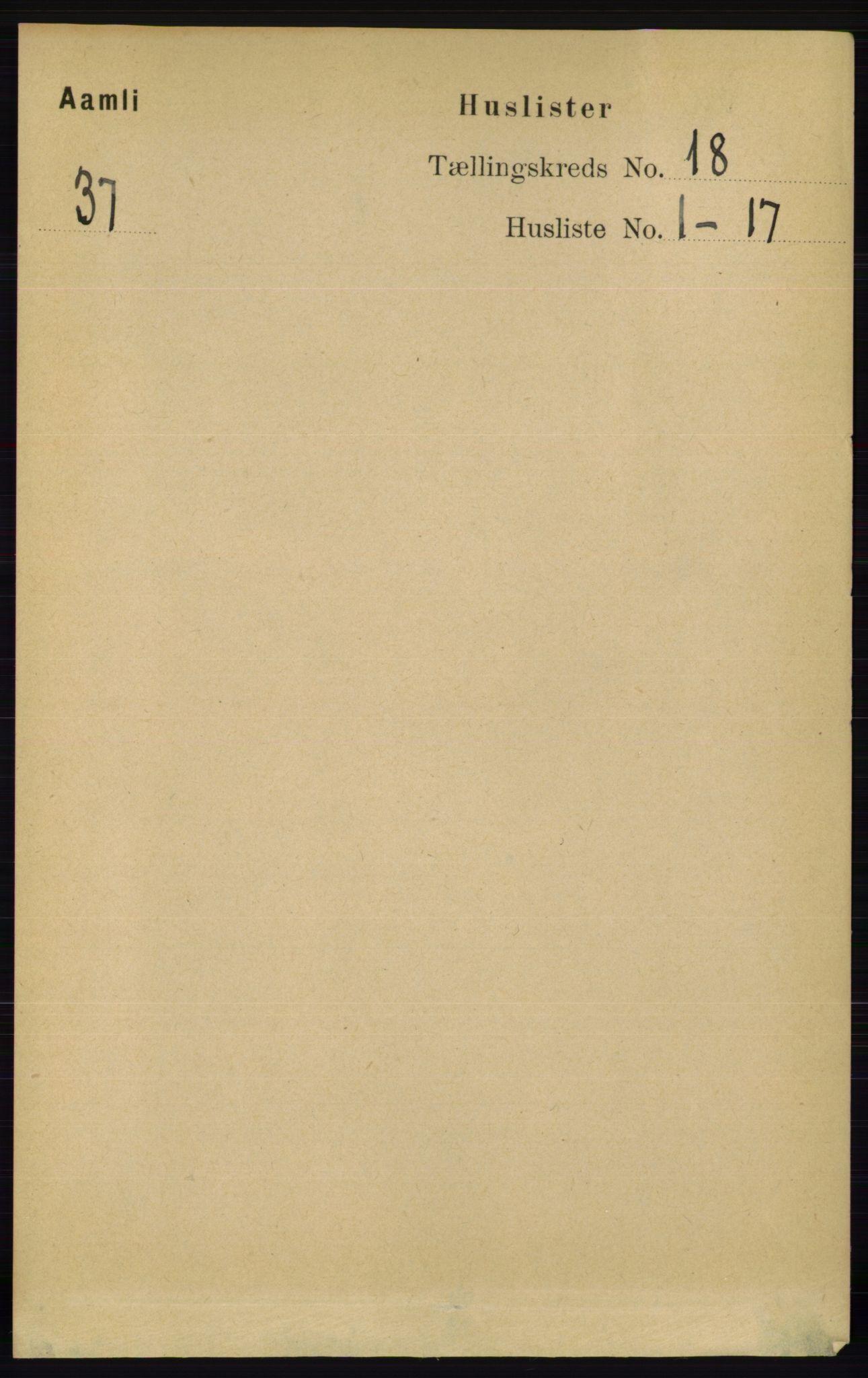 RA, Folketelling 1891 for 0929 Åmli herred, 1891, s. 2982