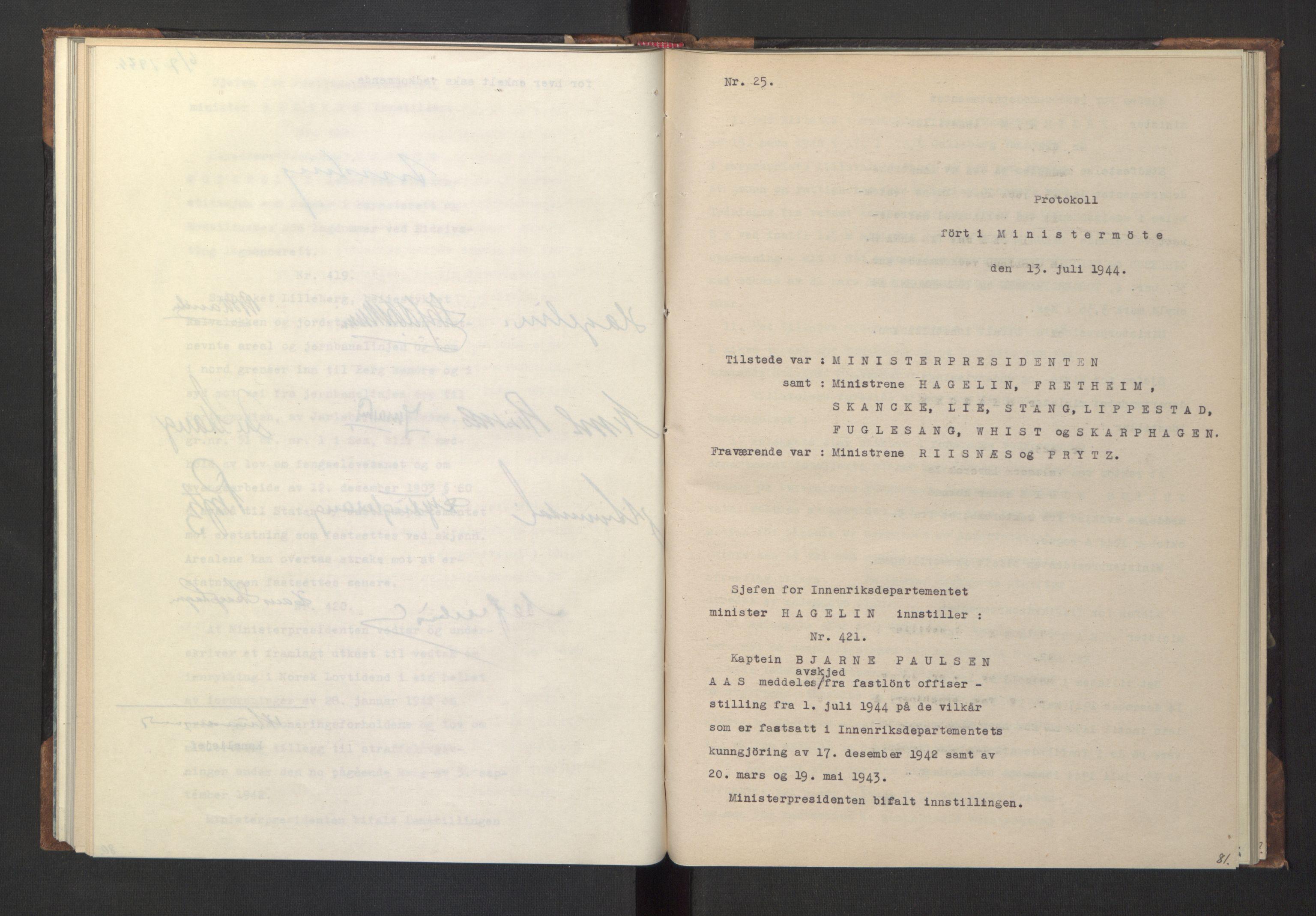 RA, NS-administrasjonen 1940-1945 (Statsrådsekretariatet, de kommisariske statsråder mm), D/Da/L0005: Protokoll fra ministermøter, 1944, s. 80b-81a