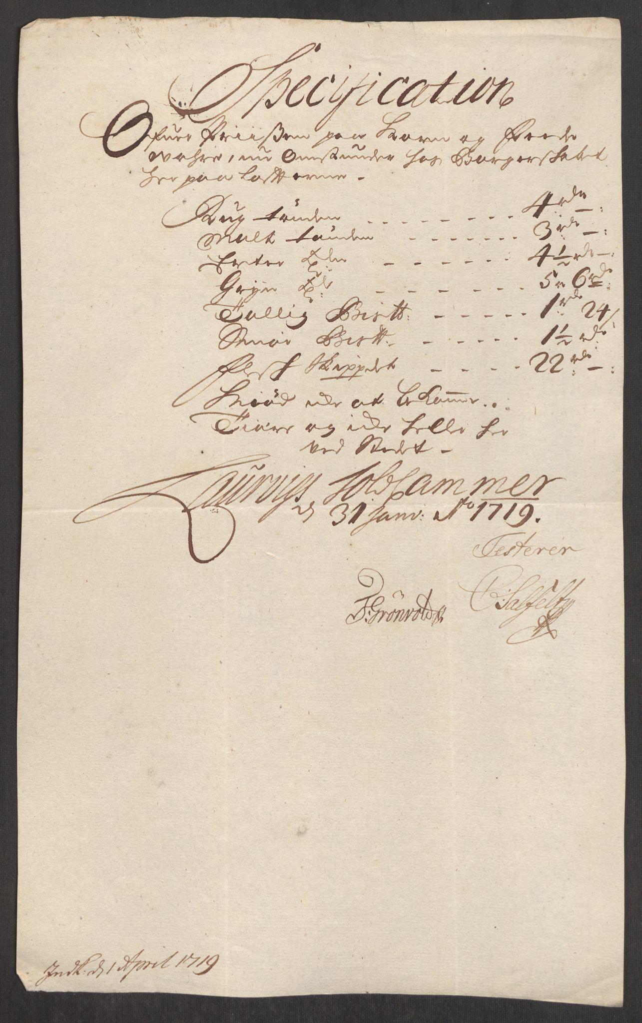 RA, Rentekammeret inntil 1814, Realistisk ordnet avdeling, Oe/L0001: [Ø1]: Priskuranter, 1712-1739, s. 118