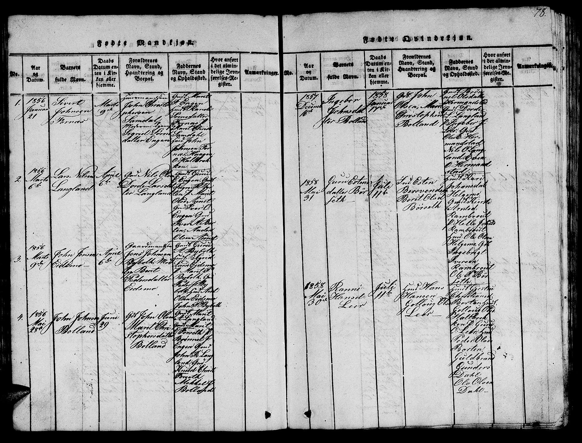 SAT, Ministerialprotokoller, klokkerbøker og fødselsregistre - Sør-Trøndelag, 693/L1121: Klokkerbok nr. 693C02, 1816-1869, s. 78