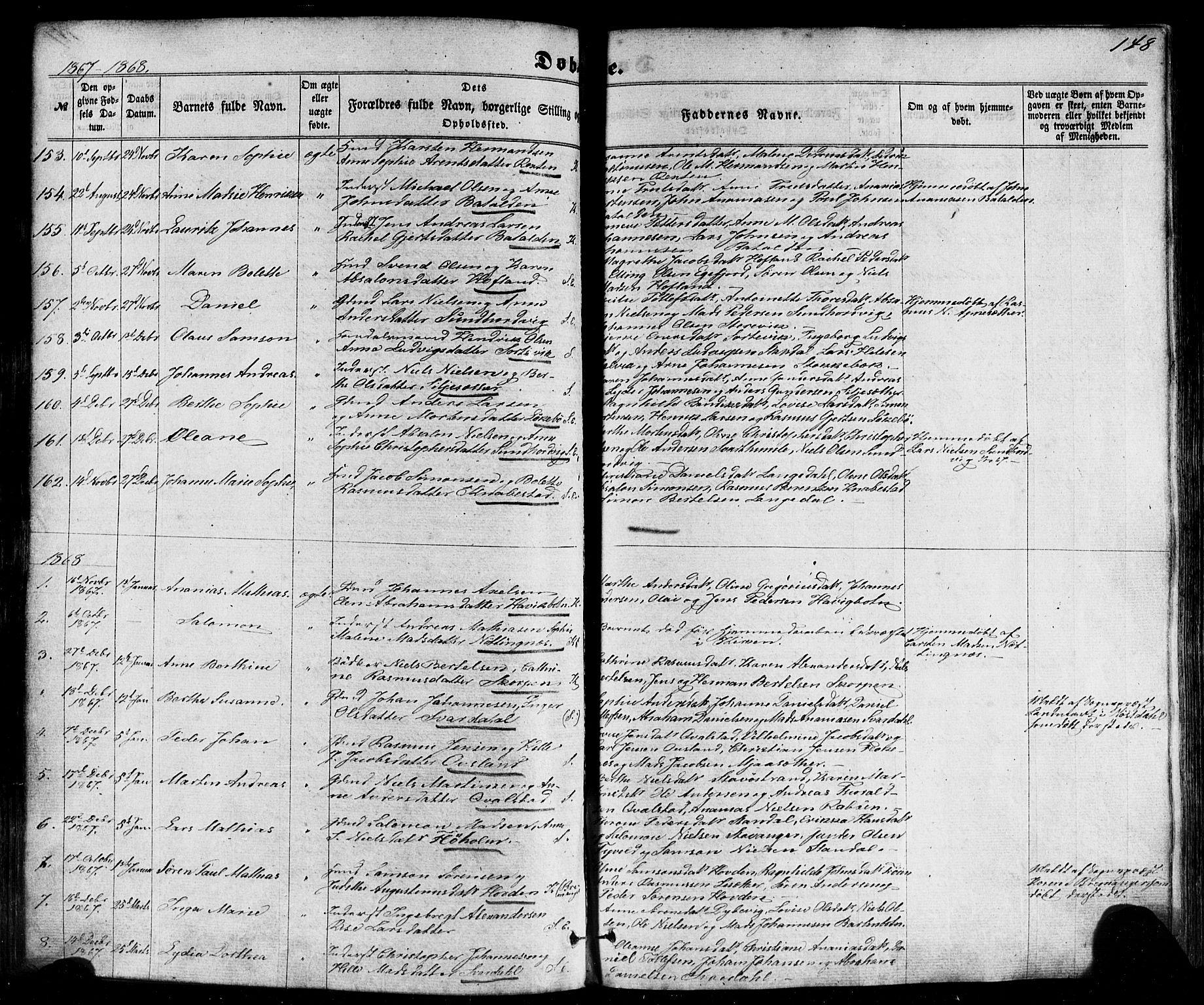 SAB, Kinn Sokneprestembete, Ministerialbok nr. A 6, 1857-1885, s. 148
