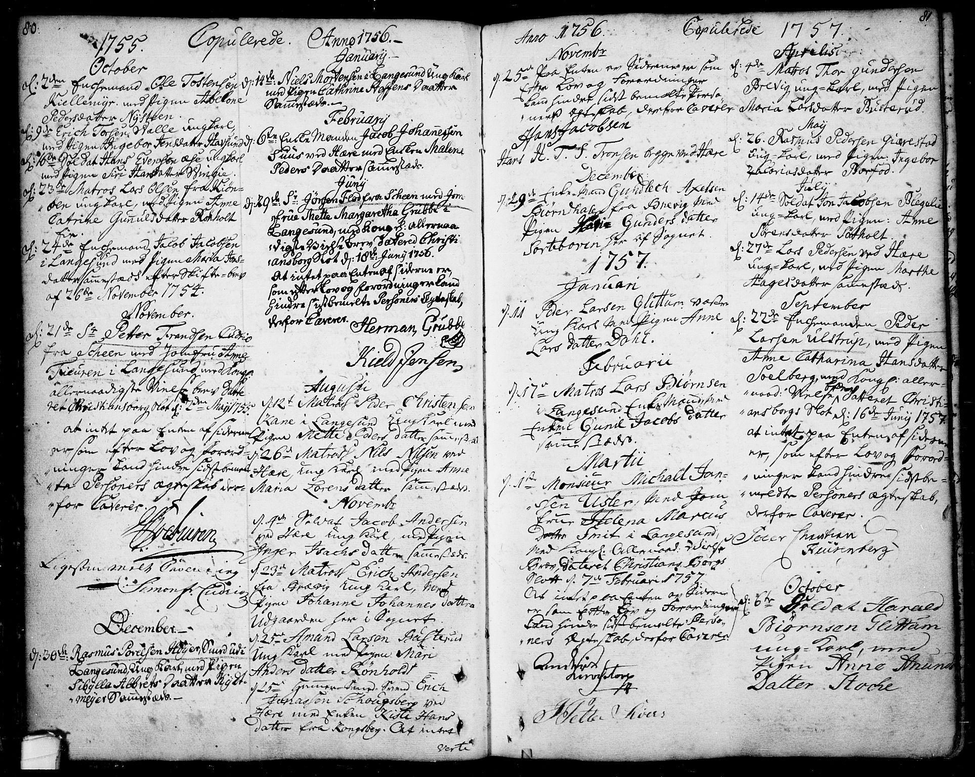 SAKO, Bamble kirkebøker, F/Fa/L0001: Ministerialbok nr. I 1, 1702-1774, s. 80-81