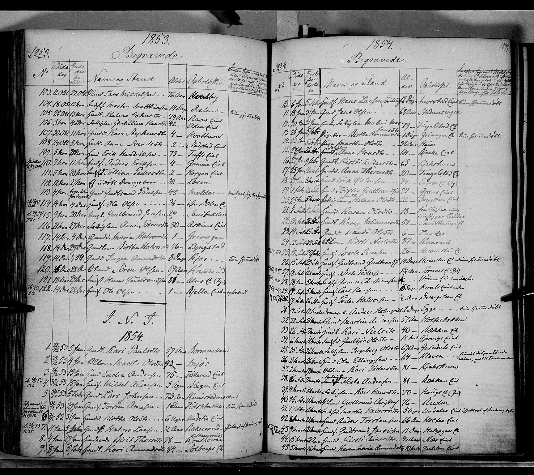 SAH, Gran prestekontor, Ministerialbok nr. 11, 1842-1856, s. 1098-1099