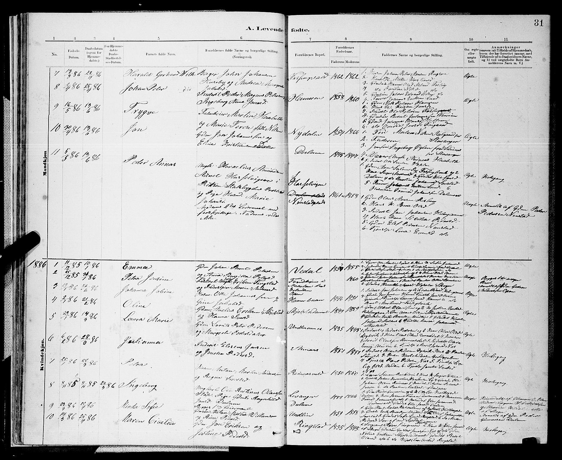 SAT, Ministerialprotokoller, klokkerbøker og fødselsregistre - Nord-Trøndelag, 714/L0134: Klokkerbok nr. 714C03, 1878-1898, s. 31