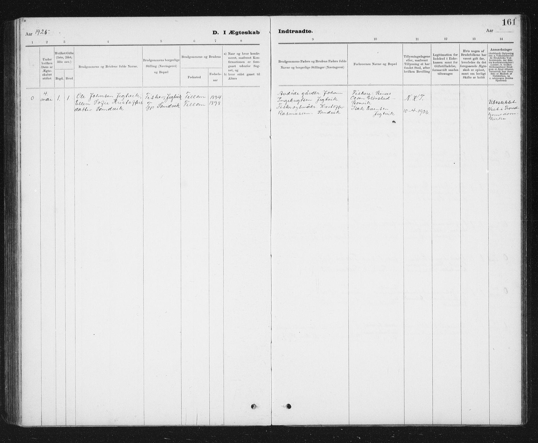 SAT, Ministerialprotokoller, klokkerbøker og fødselsregistre - Sør-Trøndelag, 637/L0563: Klokkerbok nr. 637C04, 1899-1940, s. 161