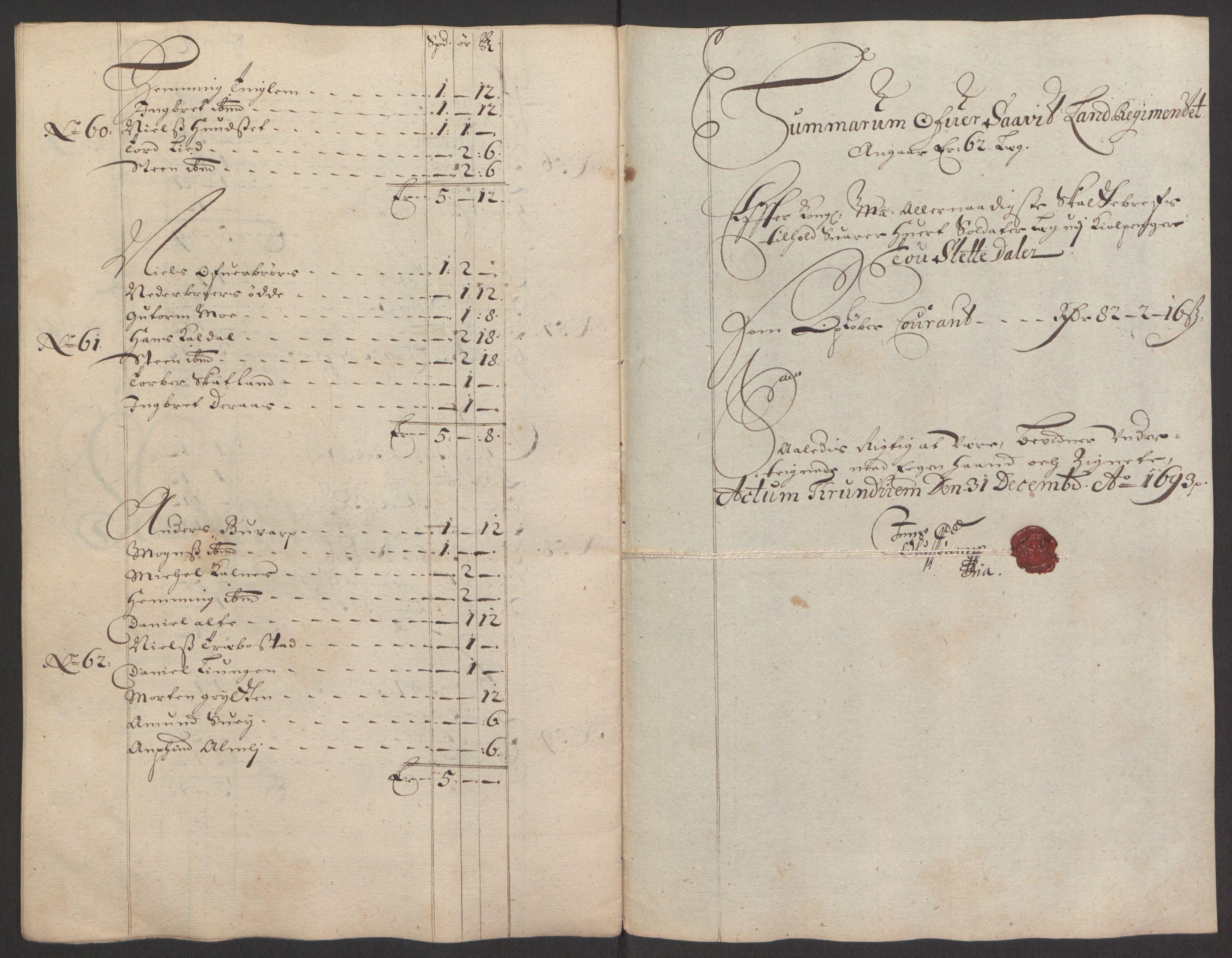 RA, Rentekammeret inntil 1814, Reviderte regnskaper, Fogderegnskap, R64/L4424: Fogderegnskap Namdal, 1692-1695, s. 267