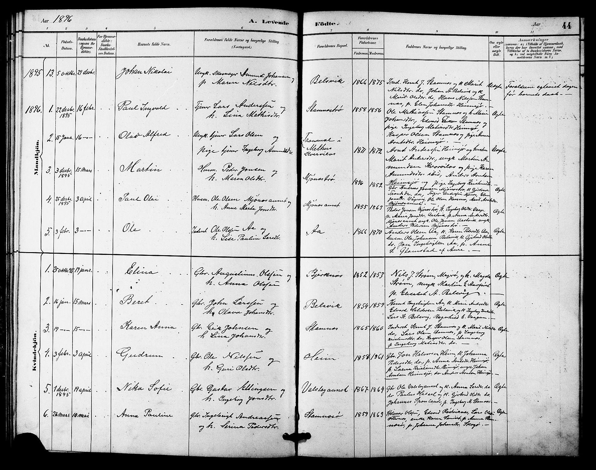 SAT, Ministerialprotokoller, klokkerbøker og fødselsregistre - Sør-Trøndelag, 633/L0519: Klokkerbok nr. 633C01, 1884-1905, s. 44