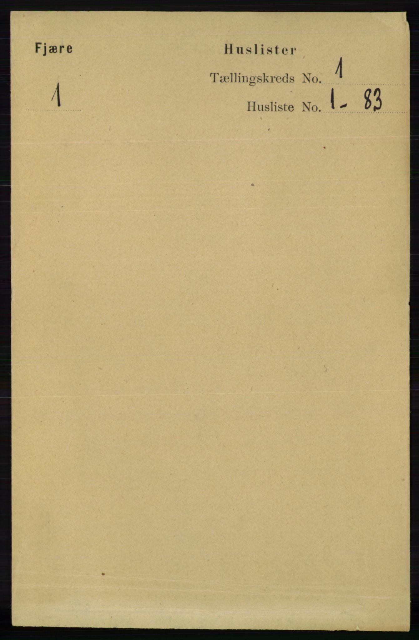 RA, Folketelling 1891 for 0923 Fjære herred, 1891, s. 31