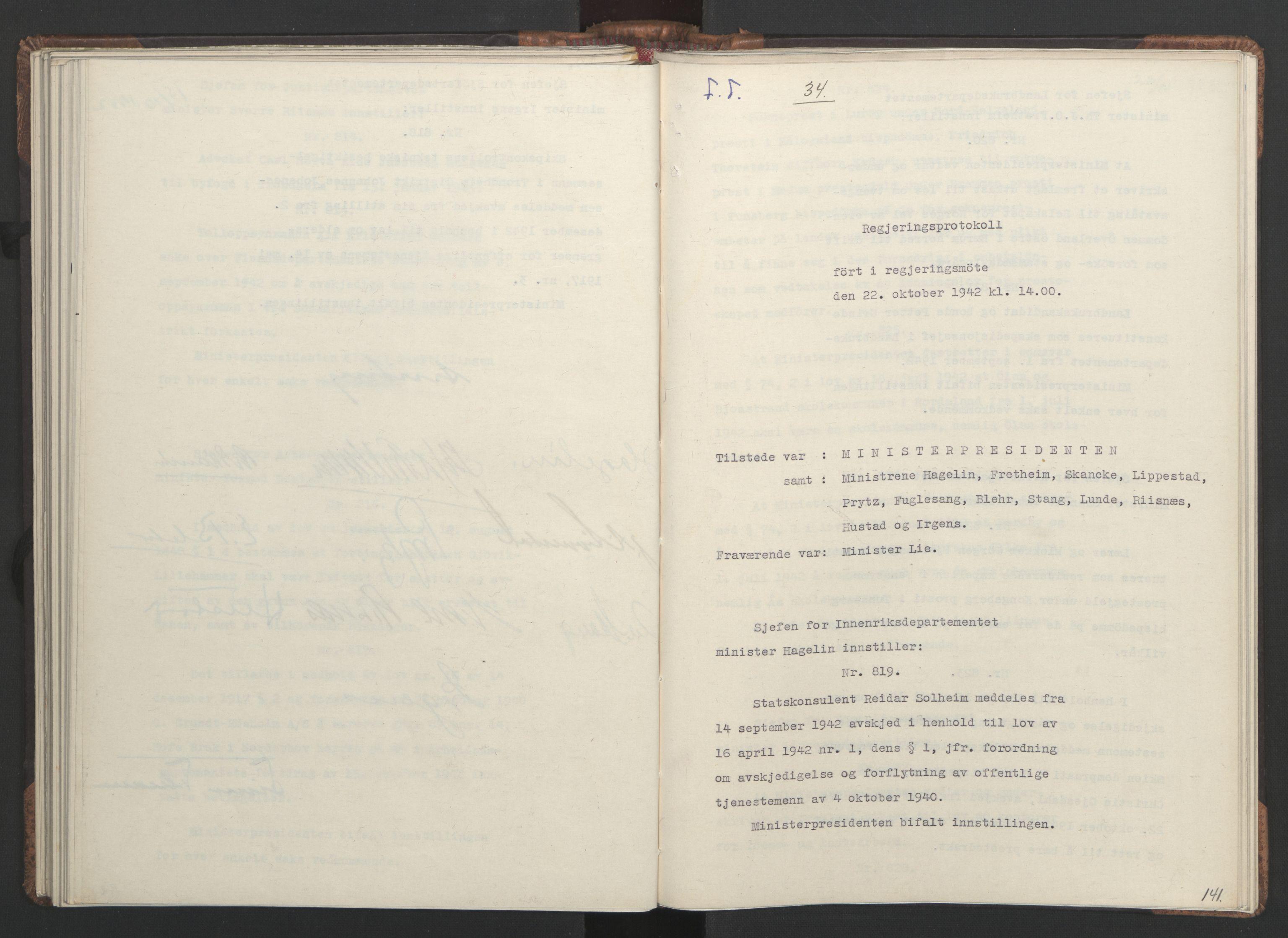 RA, NS-administrasjonen 1940-1945 (Statsrådsekretariatet, de kommisariske statsråder mm), D/Da/L0001: Beslutninger og tillegg (1-952 og 1-32), 1942, s. 140b-141a