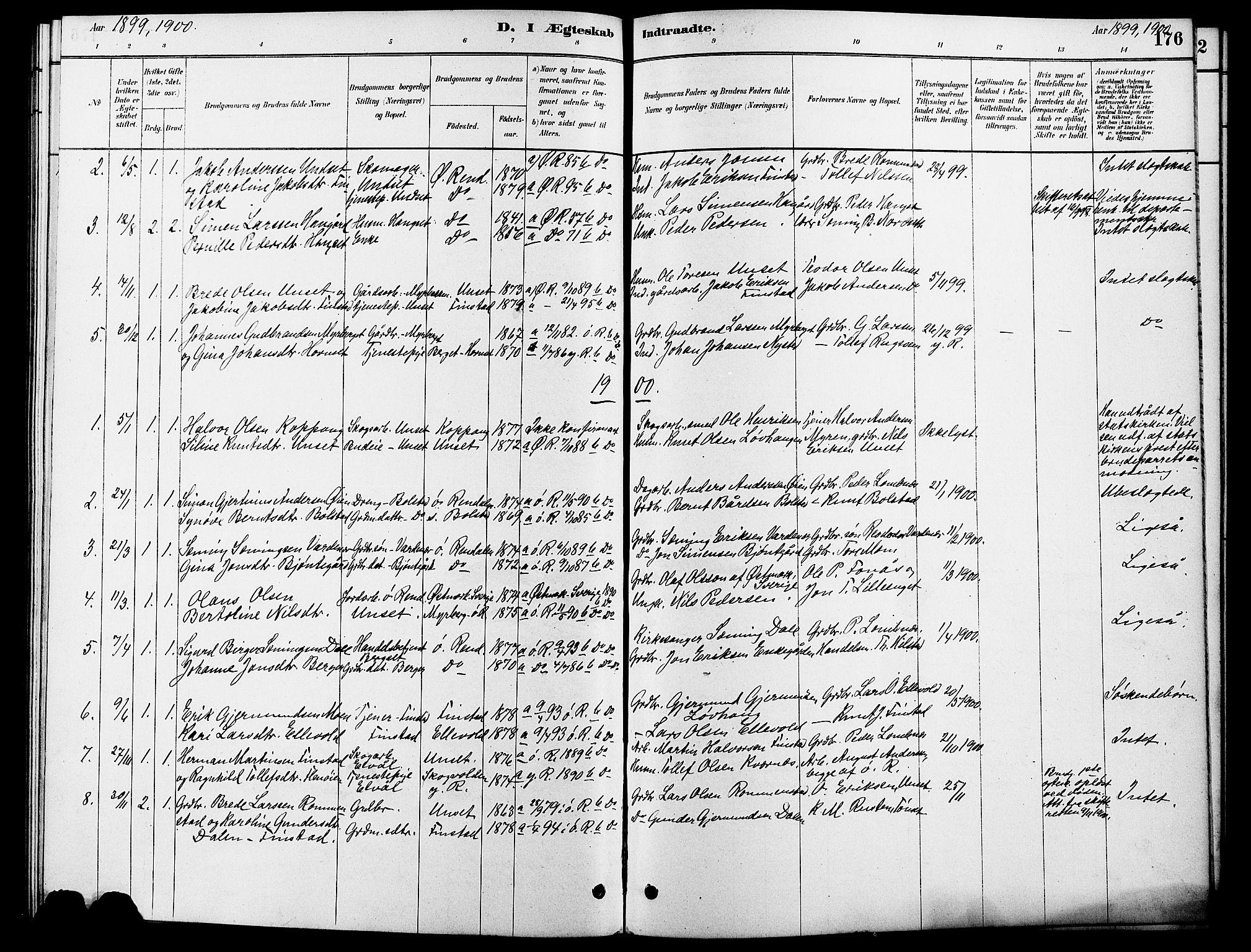 SAH, Rendalen prestekontor, H/Ha/Hab/L0003: Klokkerbok nr. 3, 1879-1904, s. 176