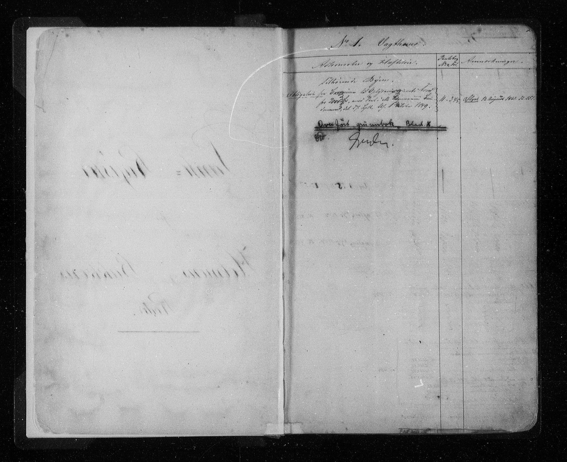 SAST, Stavanger byfogd, 4/41/410/410AD/L0001: Panteregister nr. AD 1, 1855, s. 2