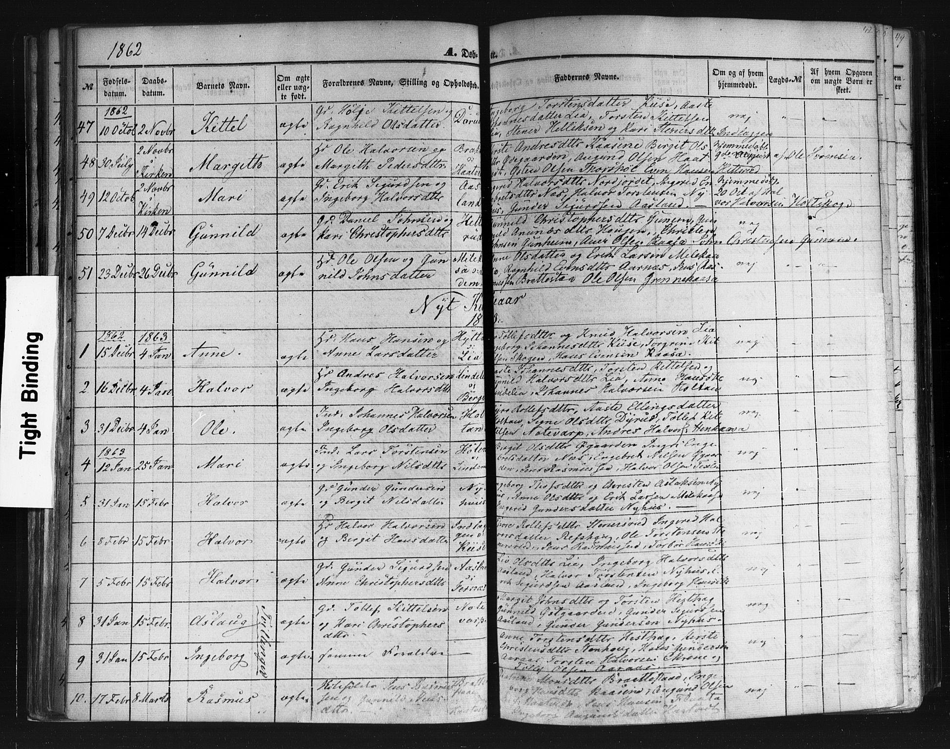 SAKO, Sauherad kirkebøker, F/Fb/L0001: Ministerialbok nr. II 1, 1851-1877, s. 42