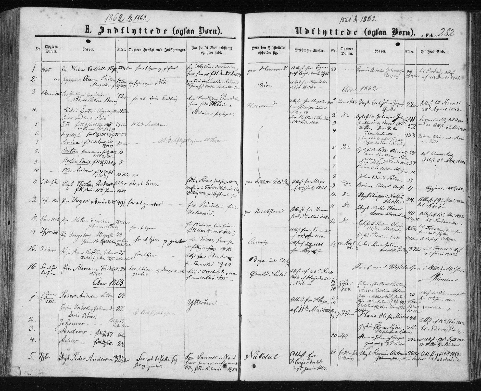 SAT, Ministerialprotokoller, klokkerbøker og fødselsregistre - Nord-Trøndelag, 780/L0641: Ministerialbok nr. 780A06, 1857-1874, s. 282