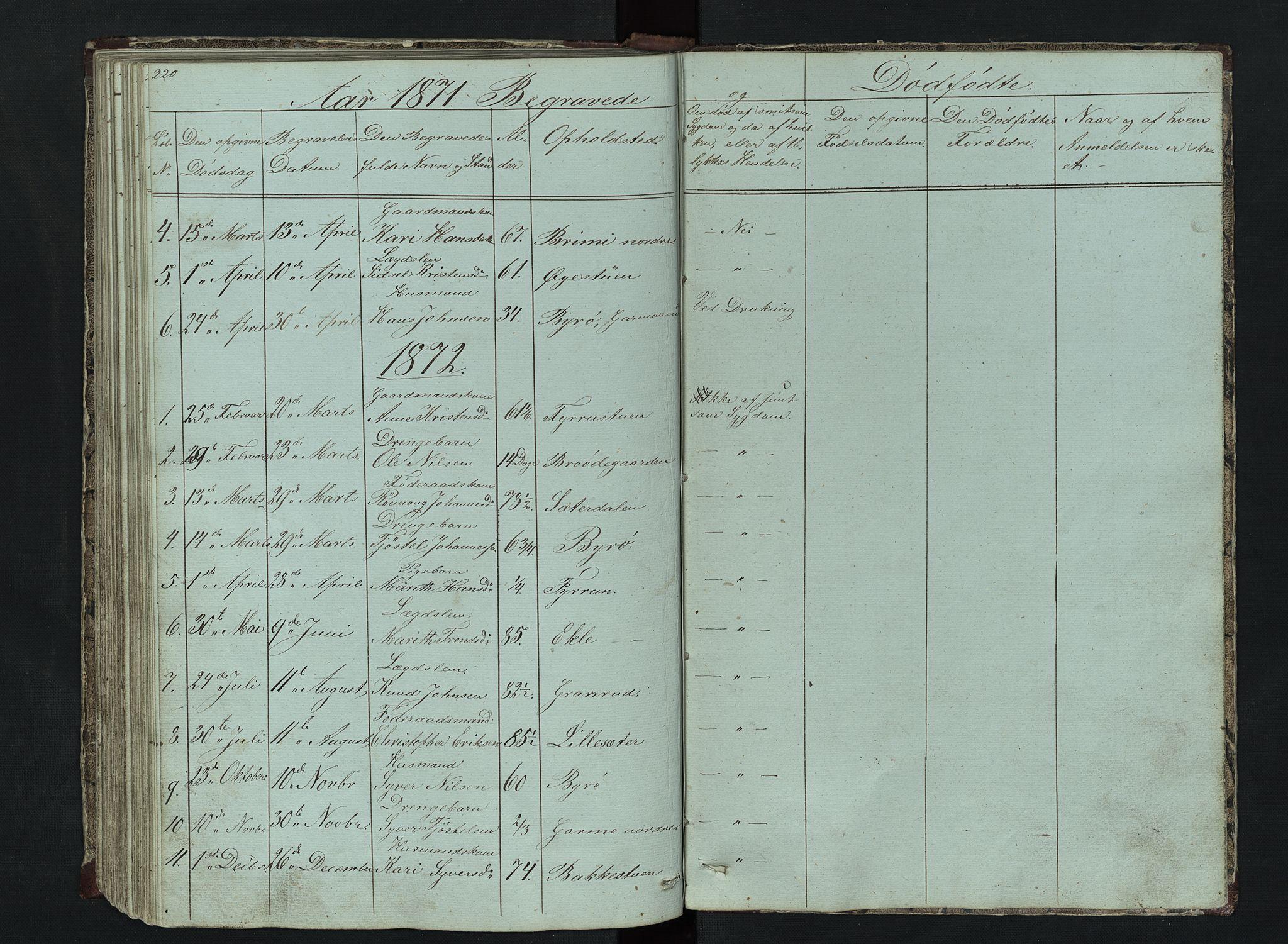 SAH, Lom prestekontor, L/L0014: Klokkerbok nr. 14, 1845-1876, s. 220-221