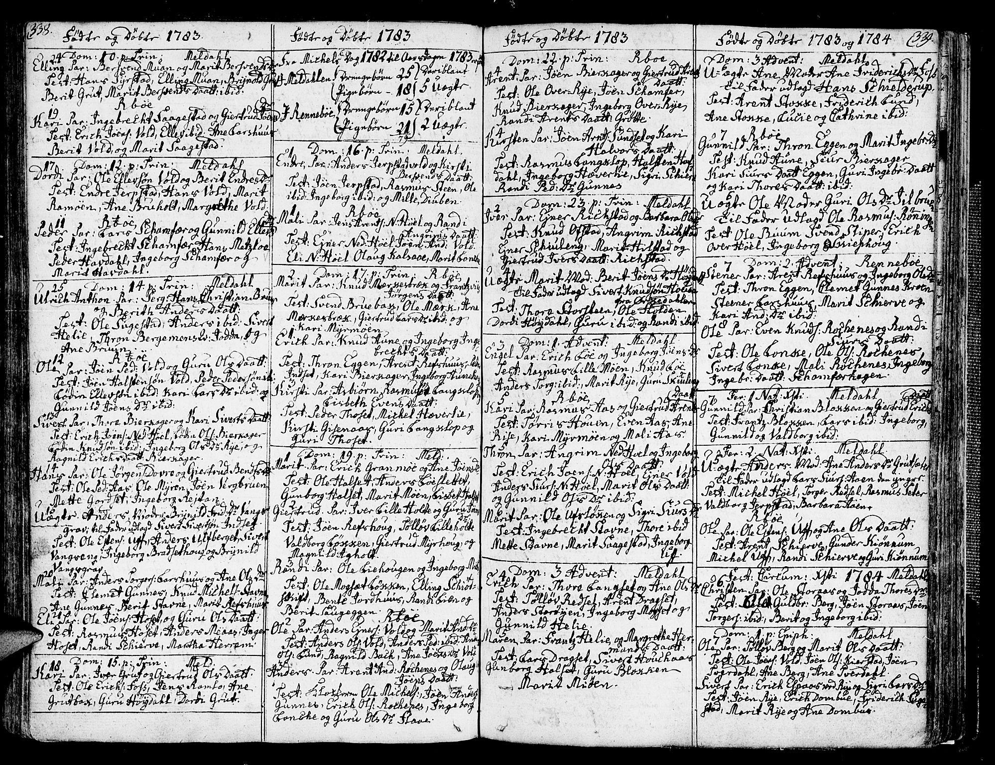 SAT, Ministerialprotokoller, klokkerbøker og fødselsregistre - Sør-Trøndelag, 672/L0852: Ministerialbok nr. 672A05, 1776-1815, s. 338-339