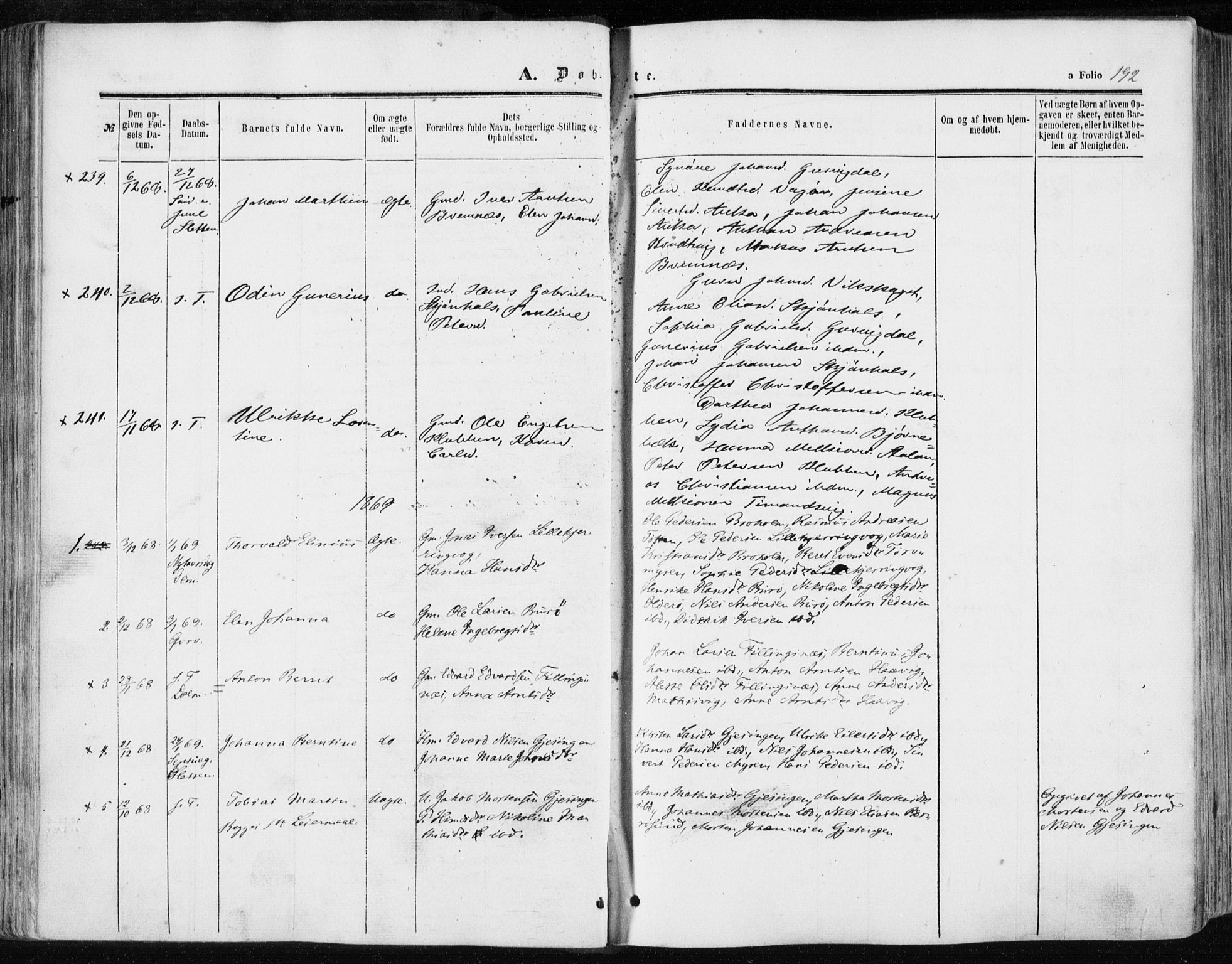 SAT, Ministerialprotokoller, klokkerbøker og fødselsregistre - Sør-Trøndelag, 634/L0531: Ministerialbok nr. 634A07, 1861-1870, s. 192