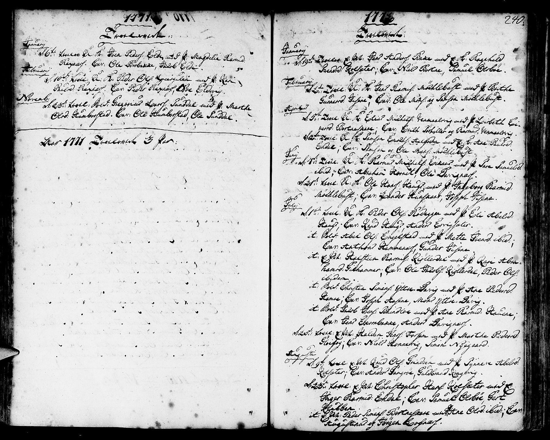 SAB, Davik Sokneprestembete, Ministerialbok nr. A 2, 1742-1816, s. 240