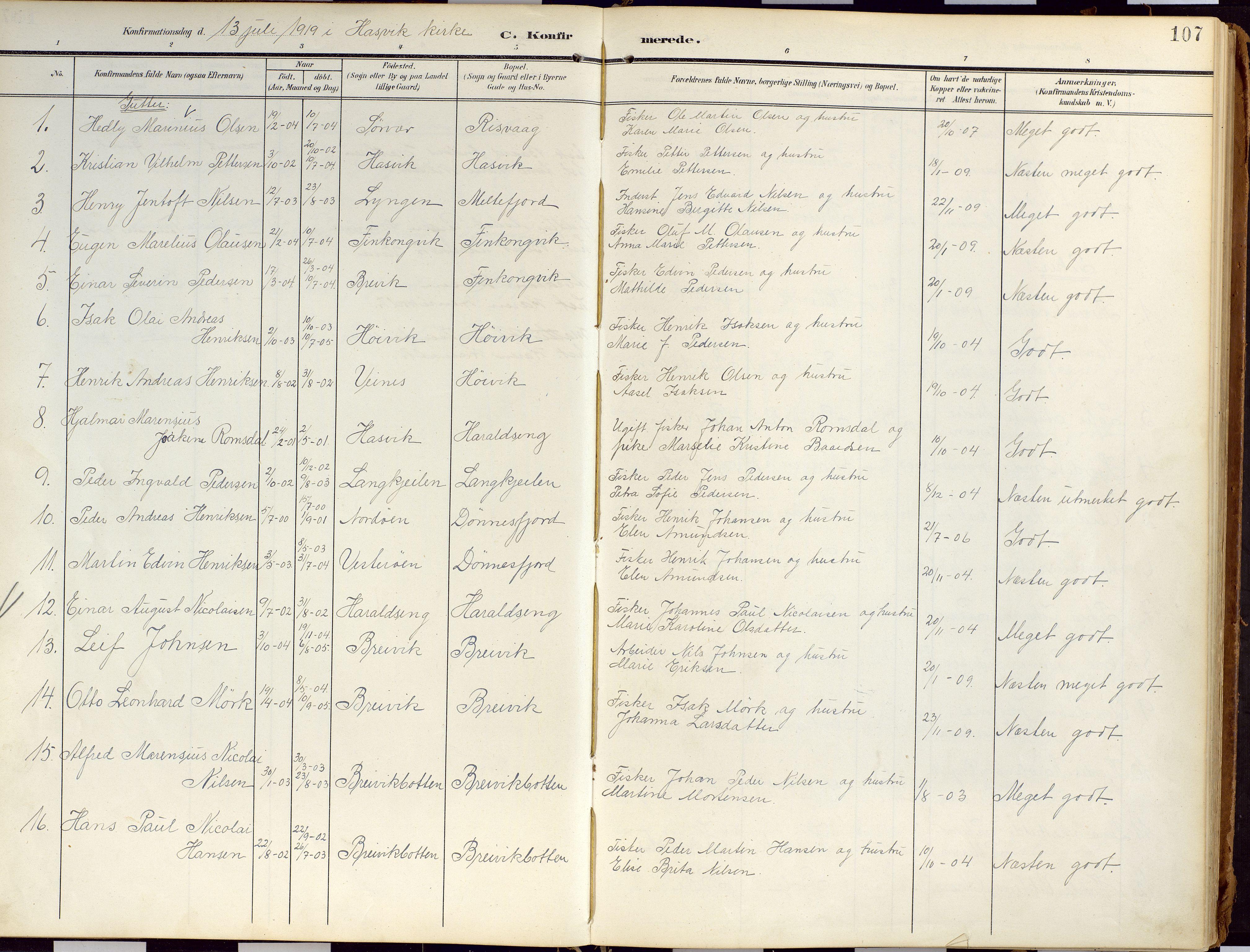 SATØ, Loppa sokneprestkontor, H/Ha/L0010kirke: Ministerialbok nr. 10, 1907-1922, s. 107
